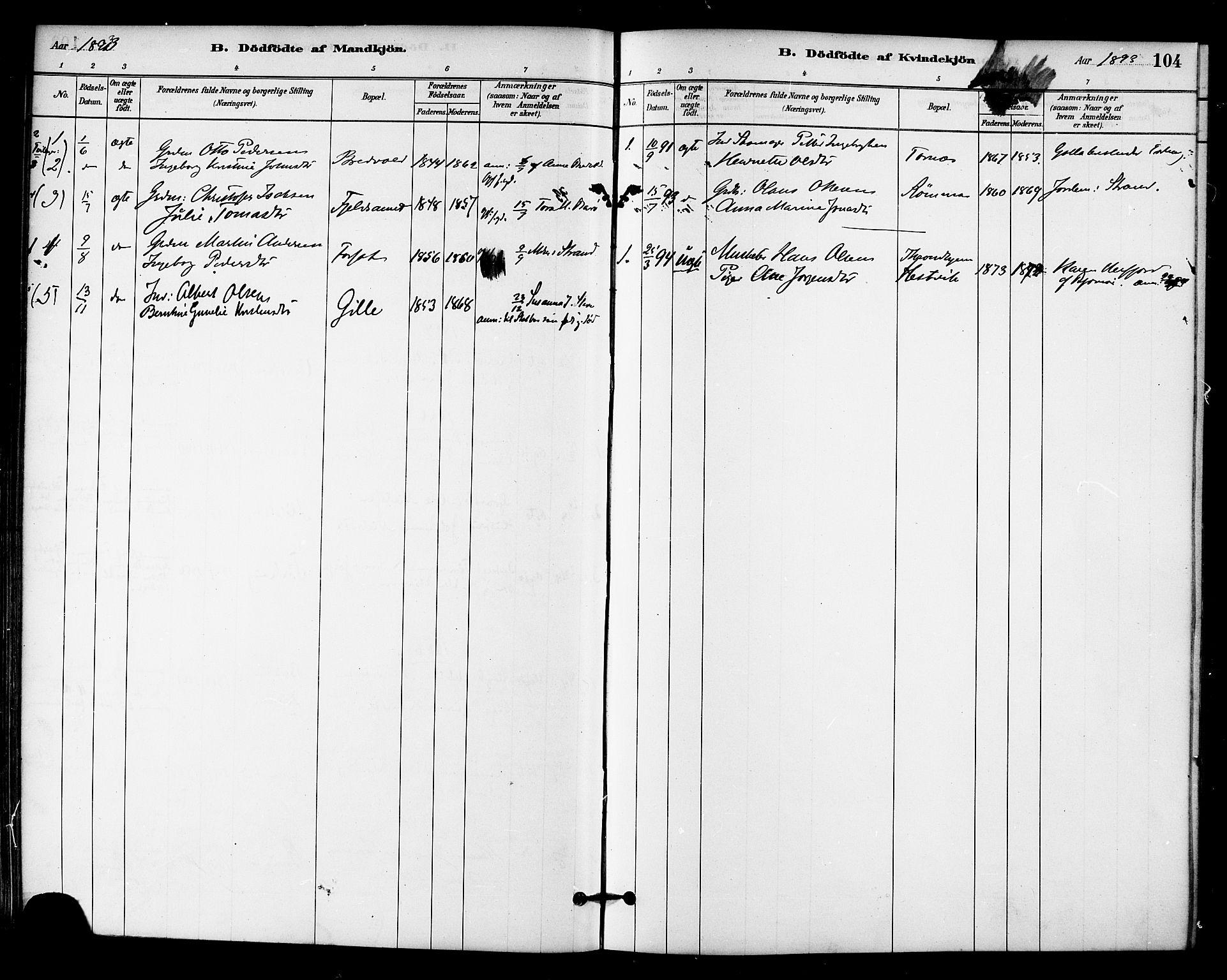 SAT, Ministerialprotokoller, klokkerbøker og fødselsregistre - Sør-Trøndelag, 655/L0680: Ministerialbok nr. 655A09, 1880-1894, s. 104