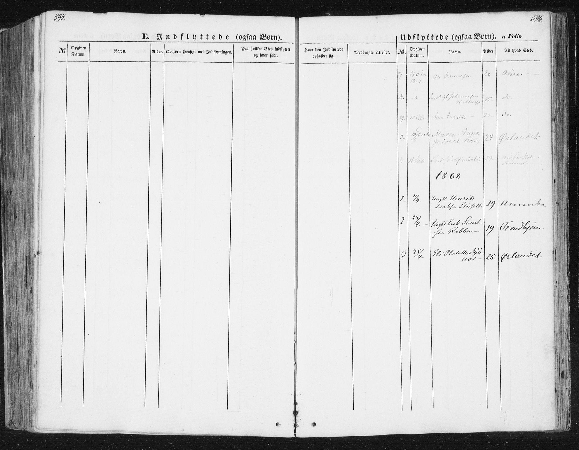 SAT, Ministerialprotokoller, klokkerbøker og fødselsregistre - Sør-Trøndelag, 630/L0494: Ministerialbok nr. 630A07, 1852-1868, s. 595-596