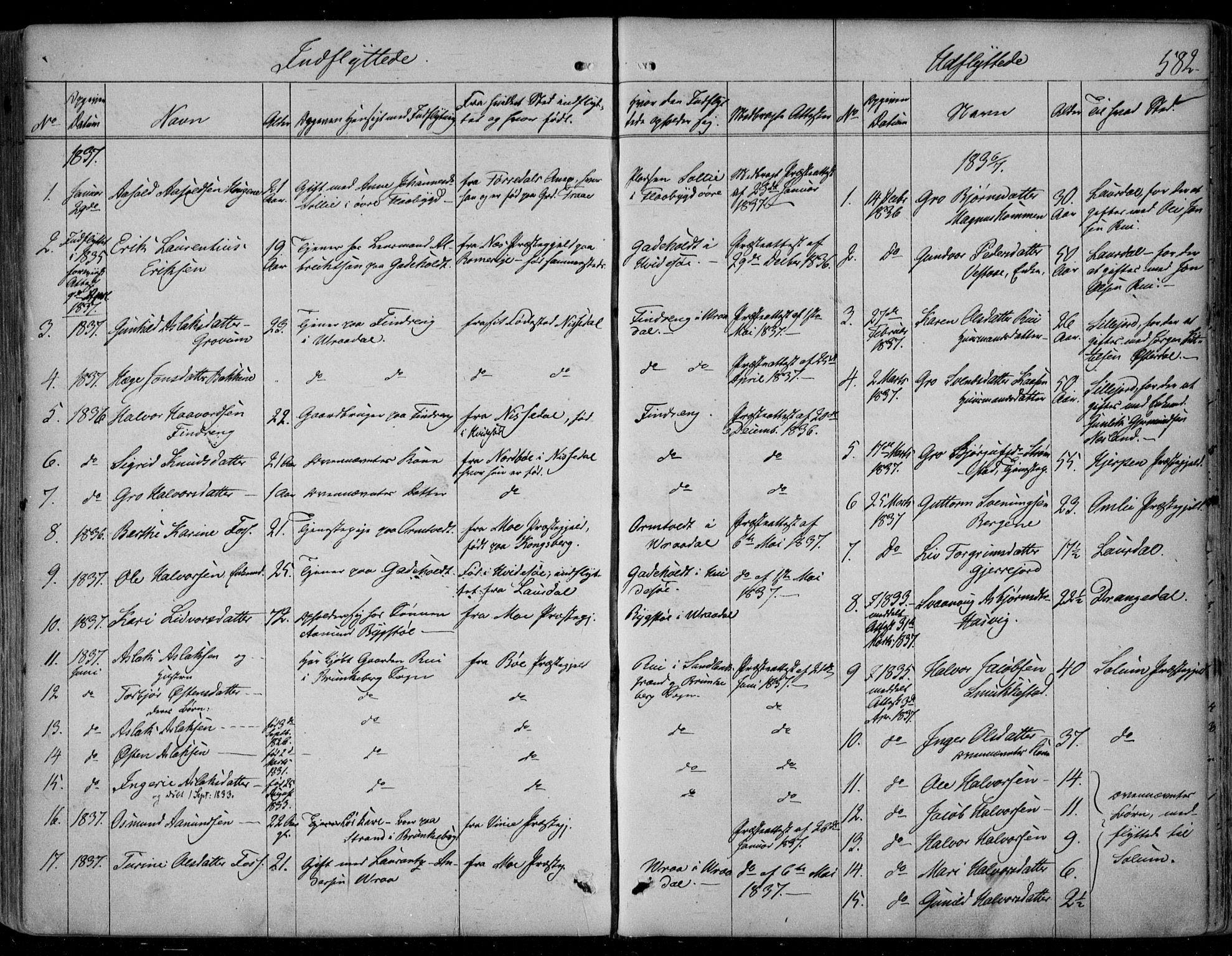 SAKO, Kviteseid kirkebøker, F/Fa/L0006: Ministerialbok nr. I 6, 1836-1858, s. 582