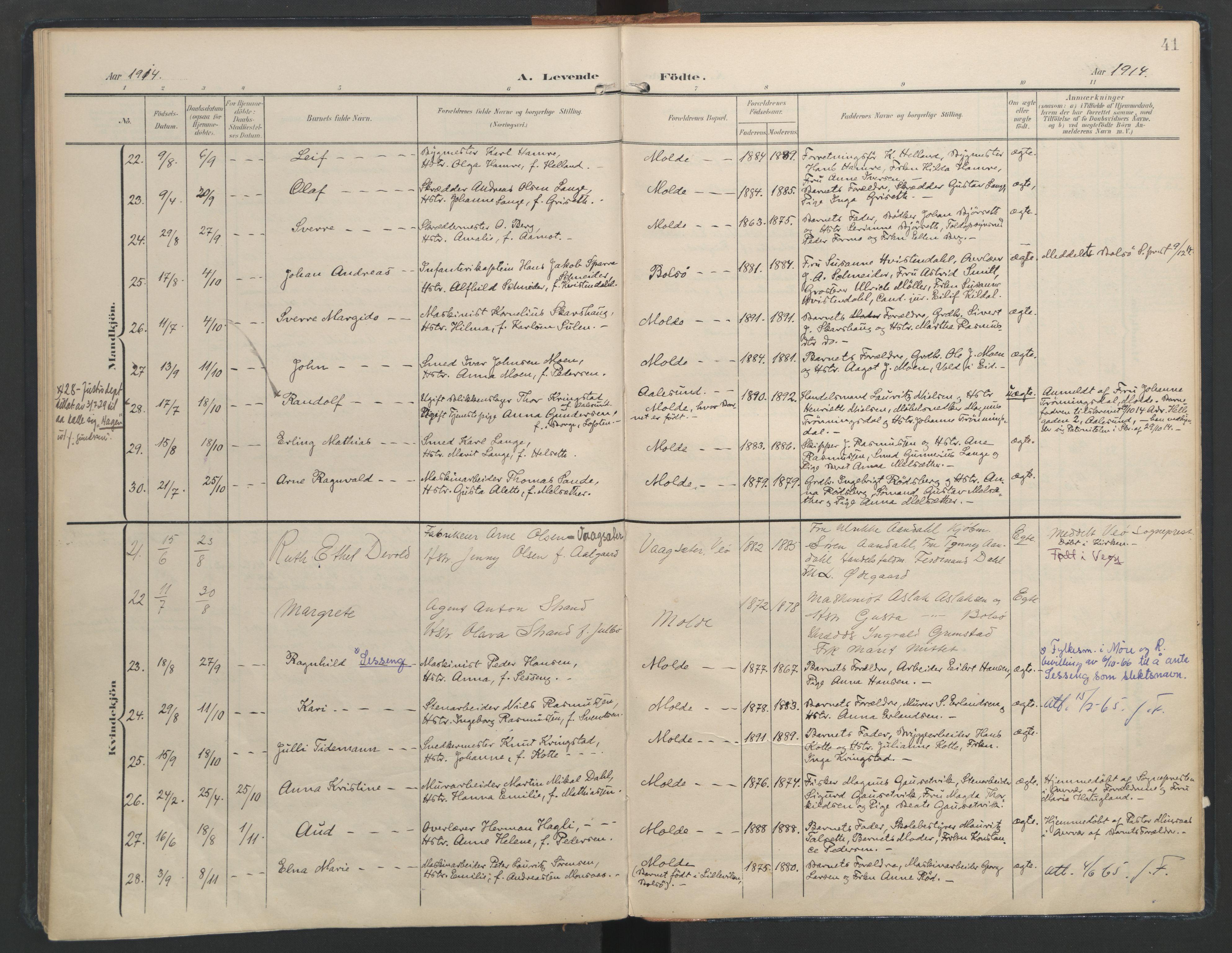 SAT, Ministerialprotokoller, klokkerbøker og fødselsregistre - Møre og Romsdal, 558/L0693: Ministerialbok nr. 558A07, 1903-1917, s. 41
