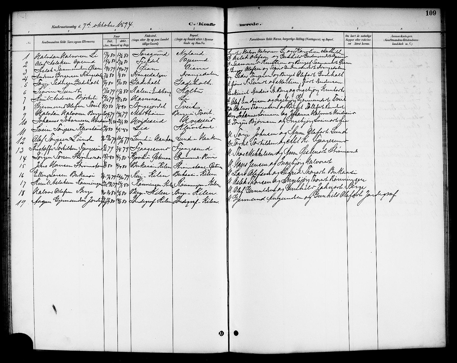 SAKO, Kviteseid kirkebøker, G/Ga/L0002: Klokkerbok nr. I 2, 1893-1918, s. 109