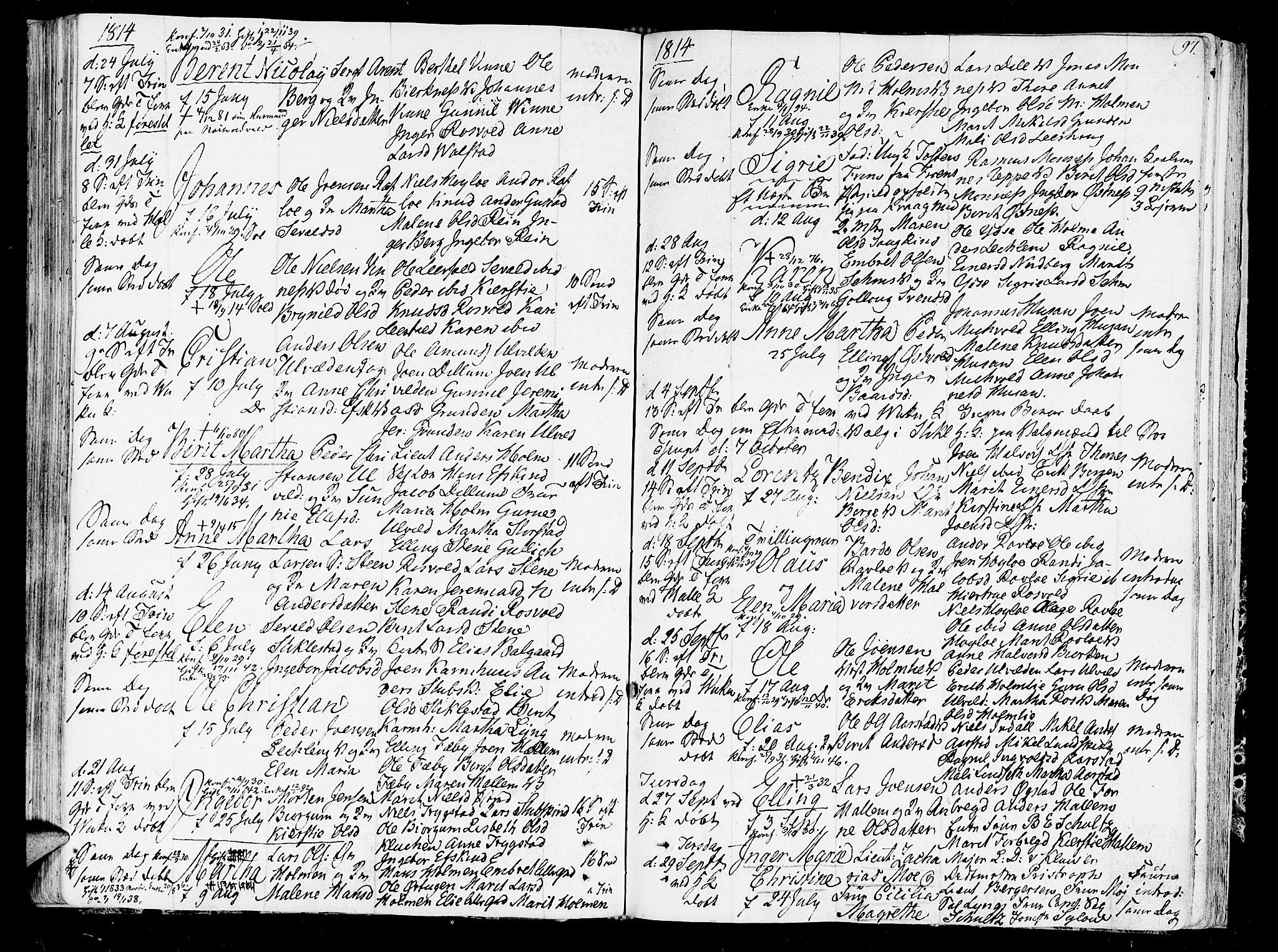 SAT, Ministerialprotokoller, klokkerbøker og fødselsregistre - Nord-Trøndelag, 723/L0233: Ministerialbok nr. 723A04, 1805-1816, s. 97
