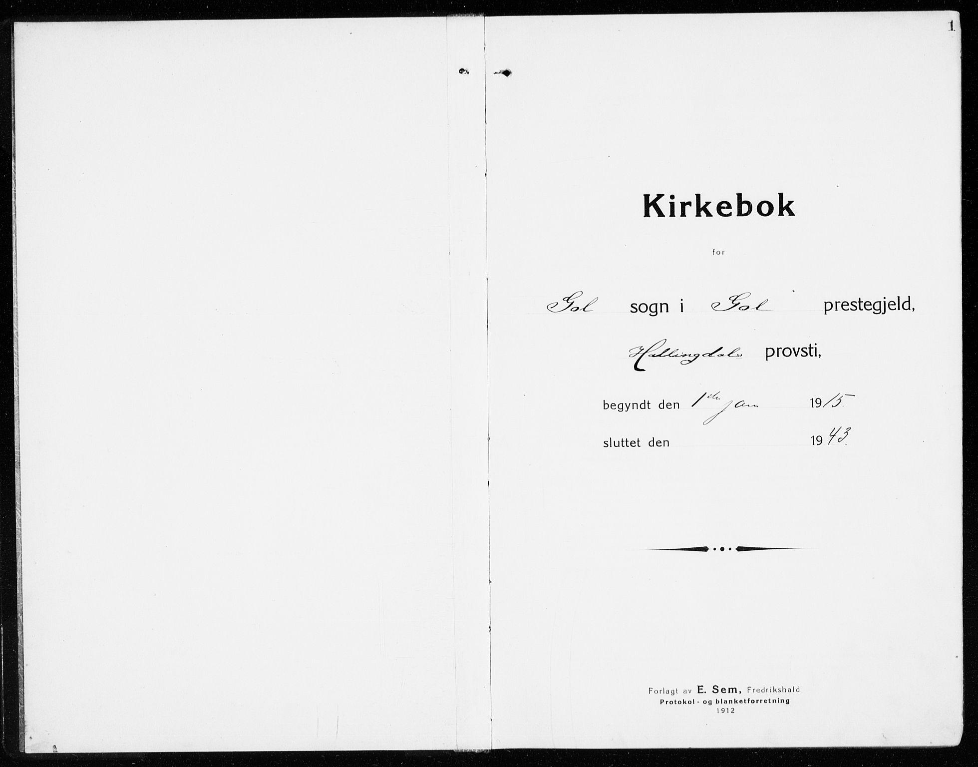 SAKO, Gol kirkebøker, G/Ga/L0004: Klokkerbok nr. I 4, 1915-1943, s. 1