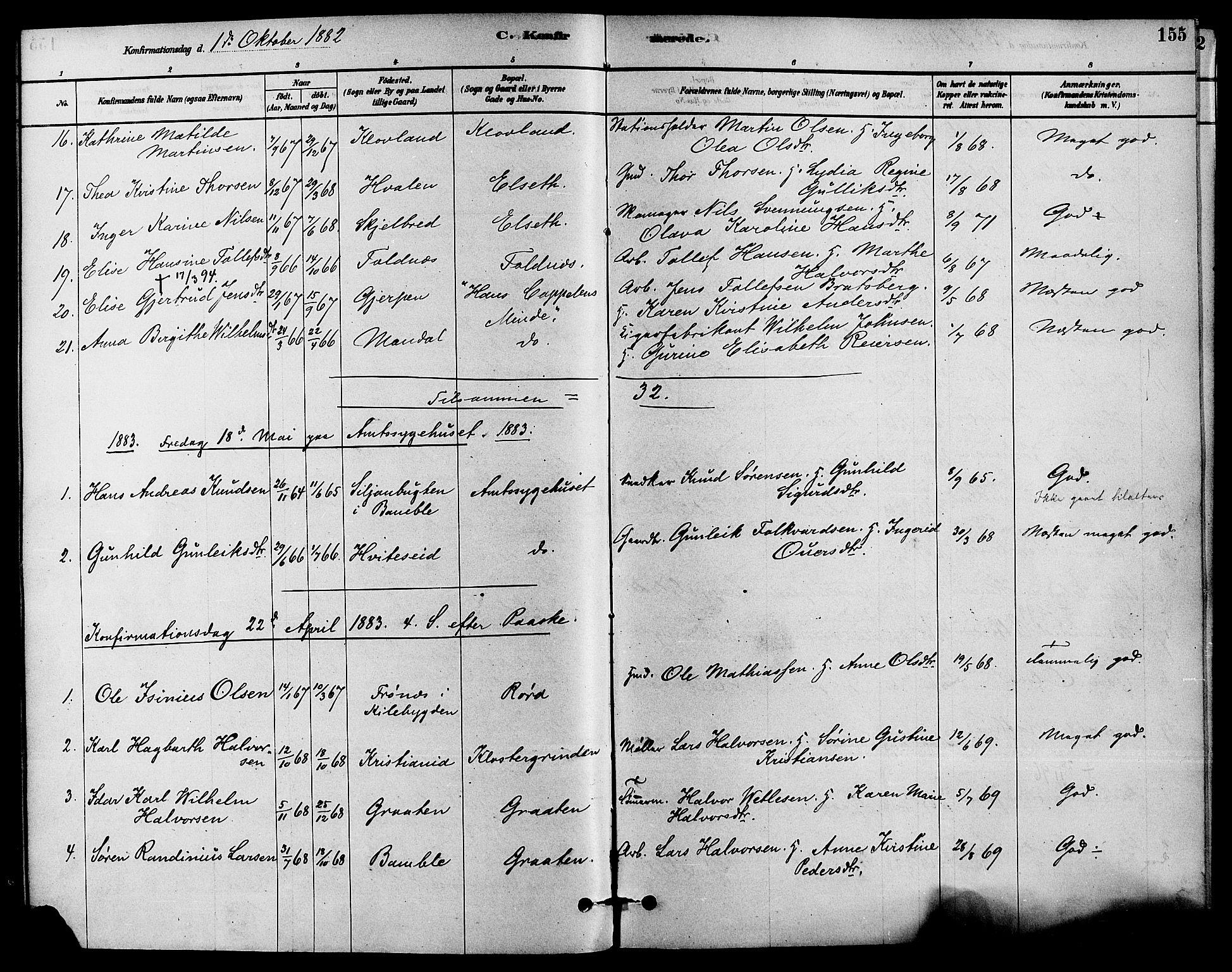 SAKO, Solum kirkebøker, F/Fa/L0009: Ministerialbok nr. I 9, 1877-1887, s. 155