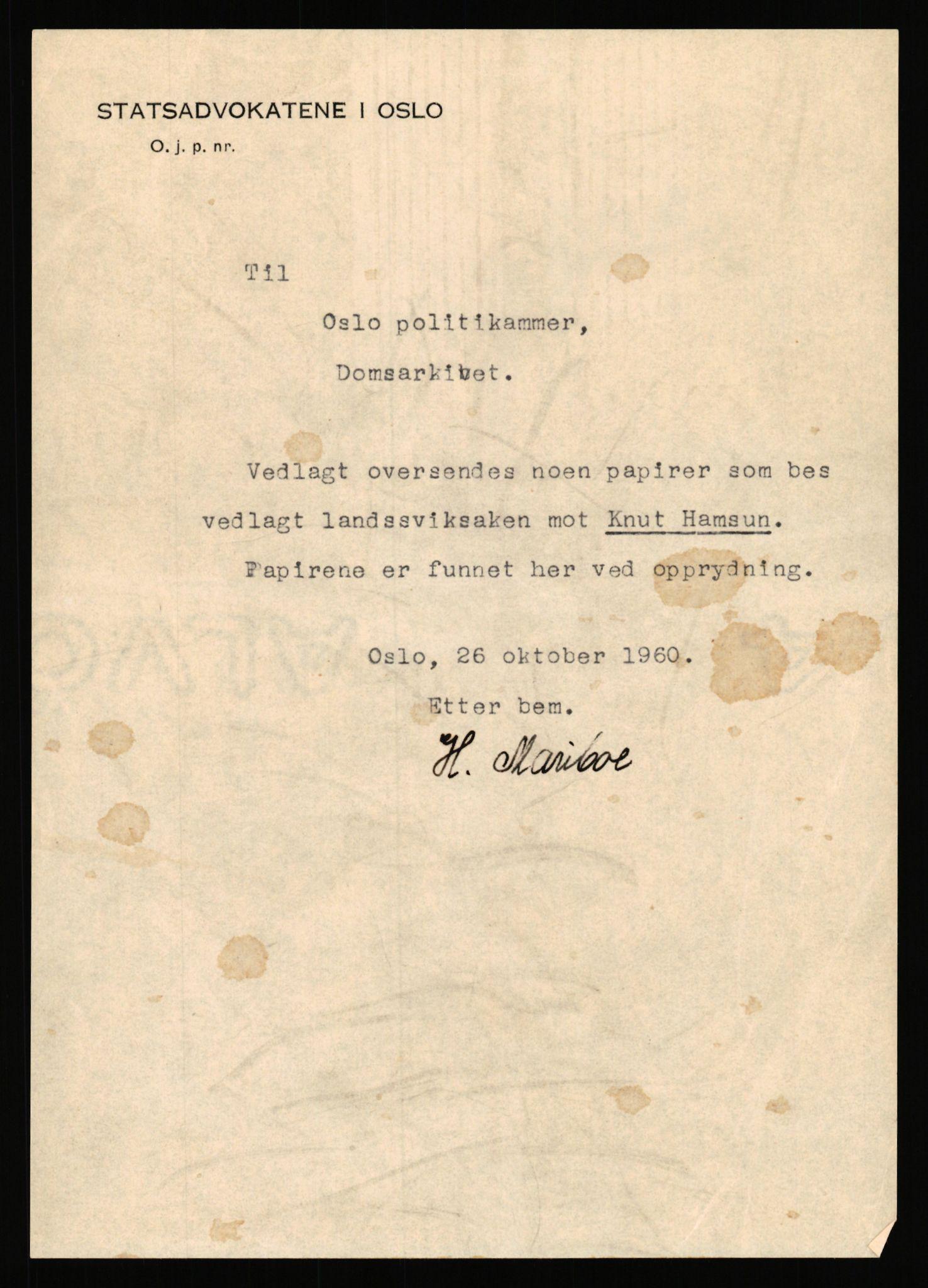 RA, Landssvikarkivet, Arendal politikammer, D/Dc/L0029: Anr. 192/45, 1945-1951, s. 1060