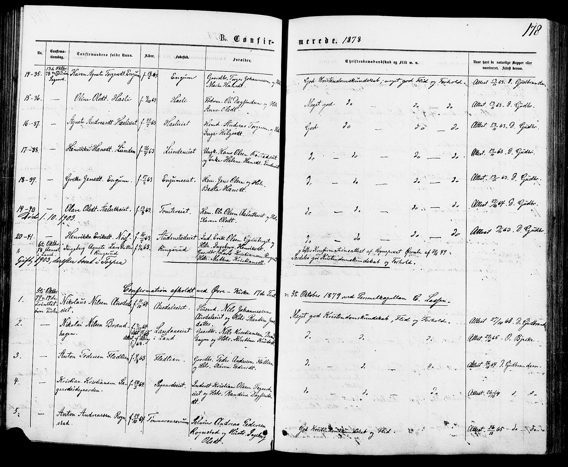 SAH, Biri prestekontor, Ministerialbok nr. 6, 1877-1886, s. 178