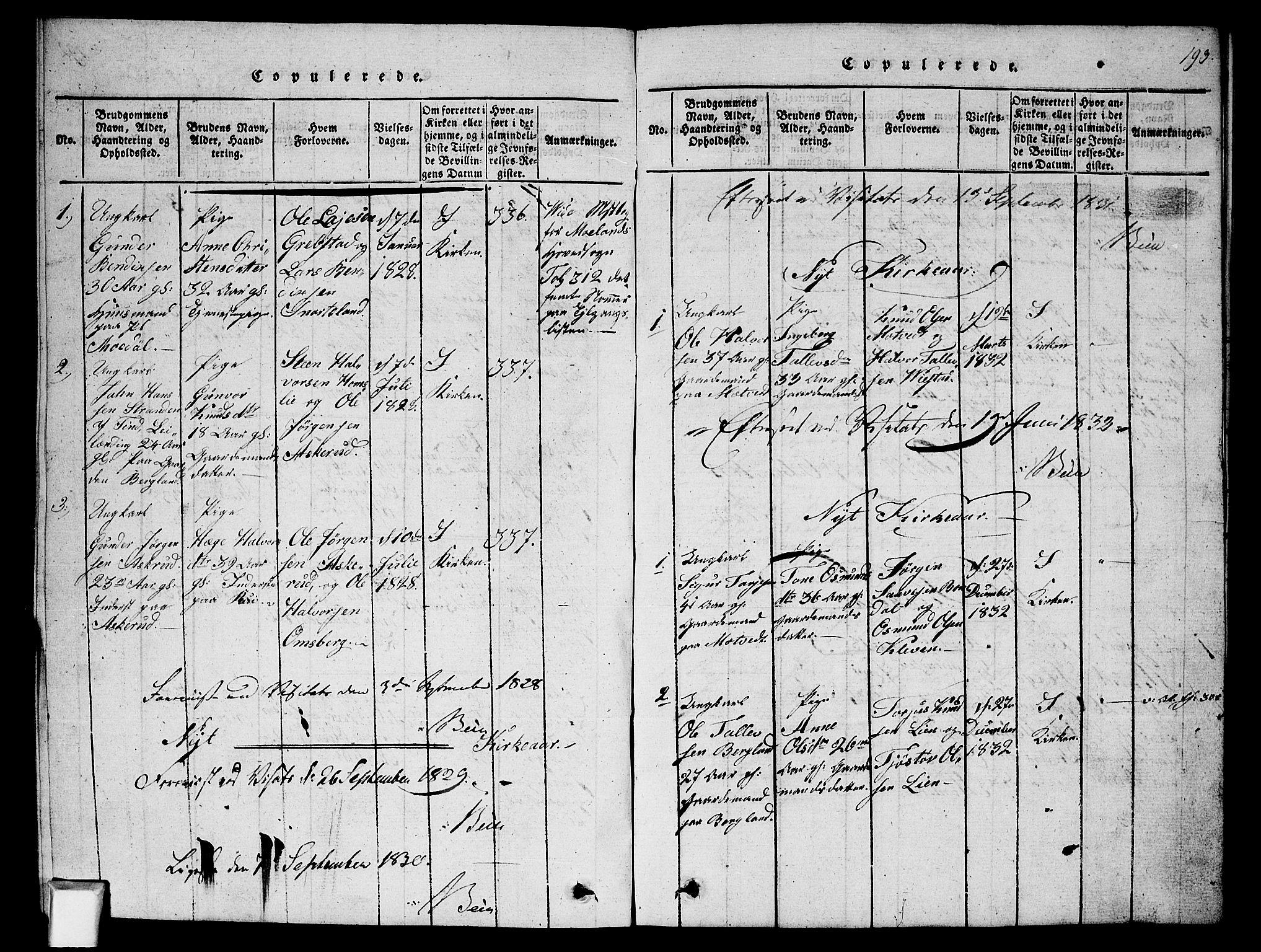 SAKO, Fyresdal kirkebøker, G/Ga/L0002: Klokkerbok nr. I 2, 1815-1857, s. 193