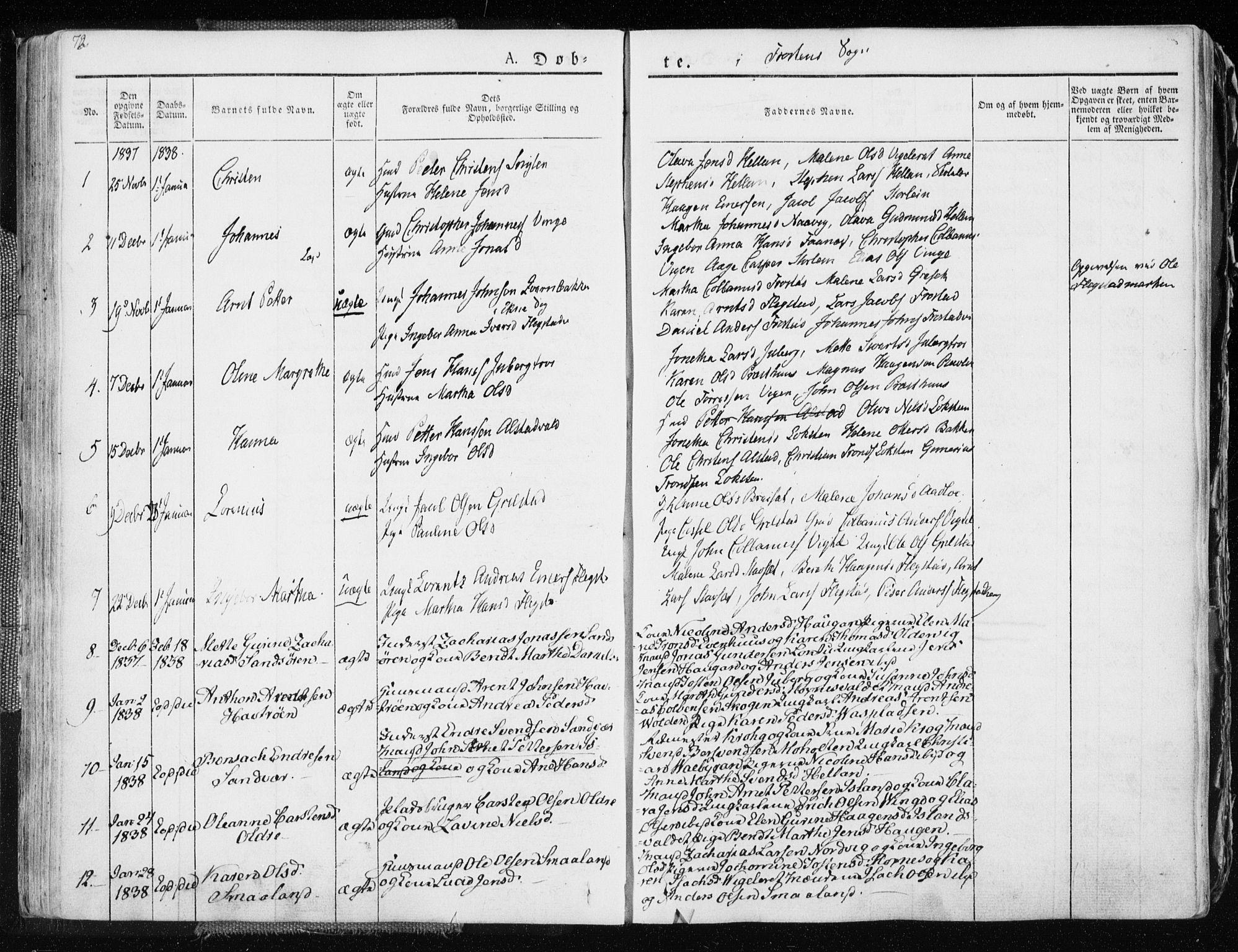 SAT, Ministerialprotokoller, klokkerbøker og fødselsregistre - Nord-Trøndelag, 713/L0114: Ministerialbok nr. 713A05, 1827-1839, s. 72