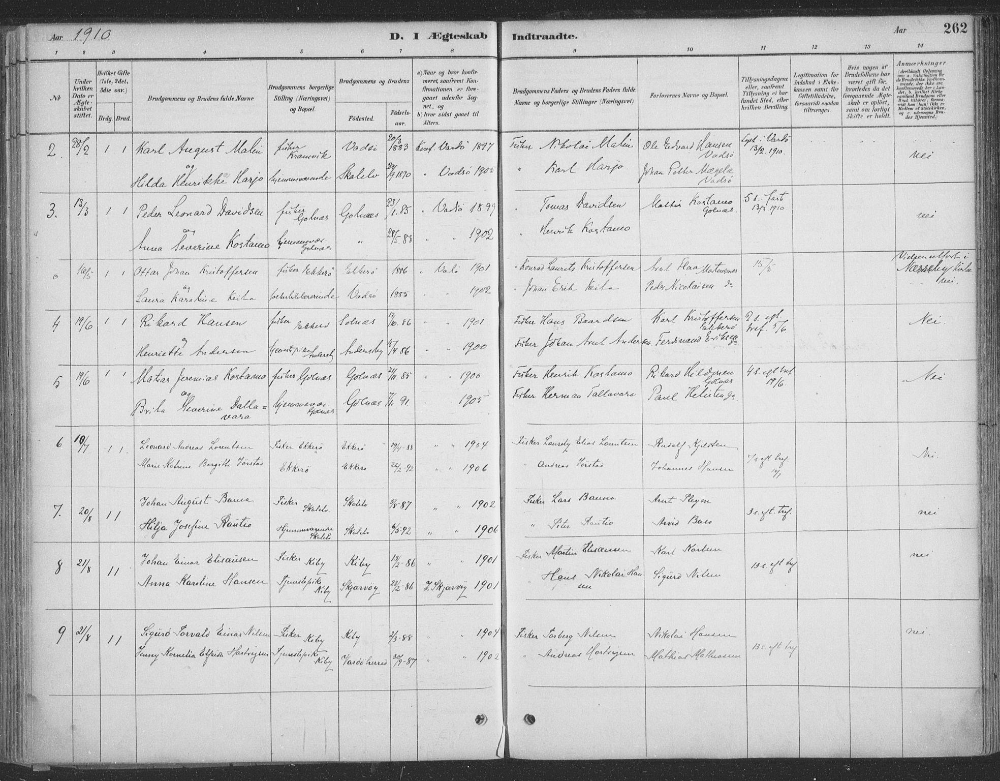 SATØ, Vadsø sokneprestkontor, H/Ha/L0009kirke: Ministerialbok nr. 9, 1881-1917, s. 262