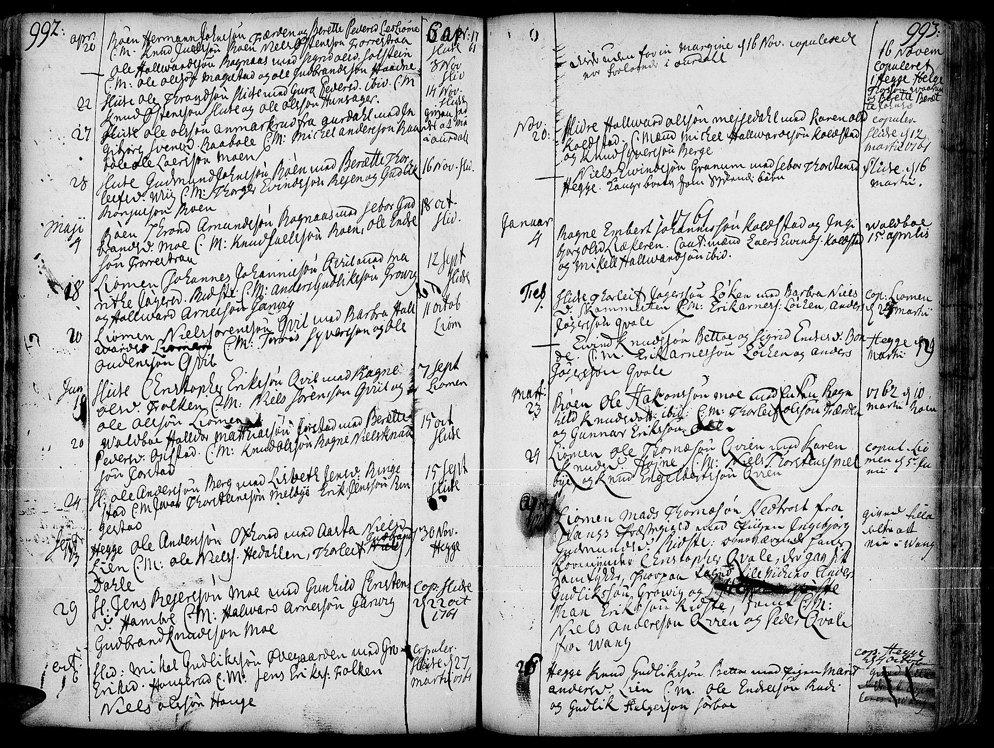 SAH, Slidre prestekontor, Ministerialbok nr. 1, 1724-1814, s. 992-993