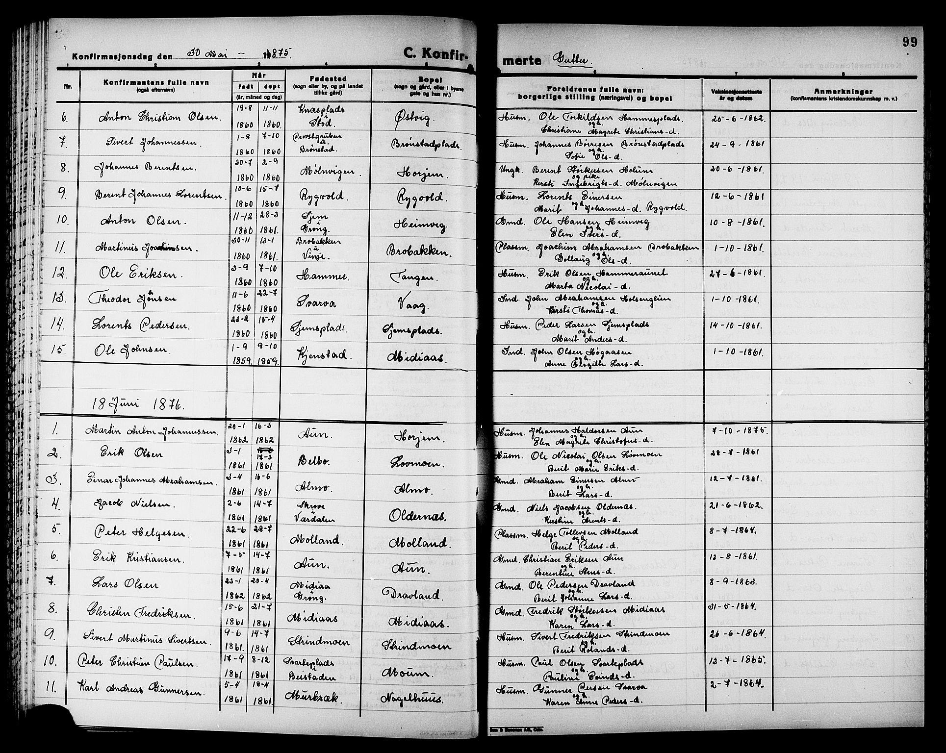 SAT, Ministerialprotokoller, klokkerbøker og fødselsregistre - Nord-Trøndelag, 749/L0486: Ministerialbok nr. 749D02, 1873-1887, s. 99