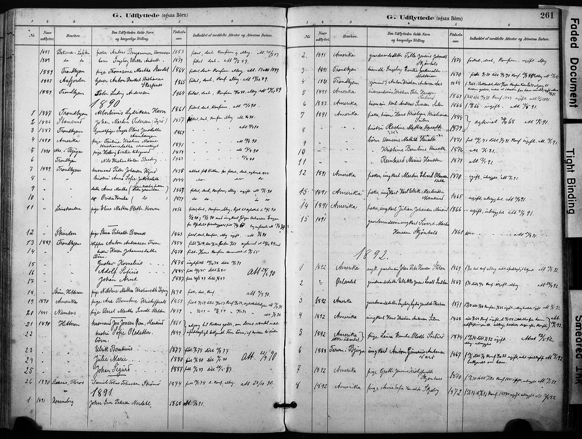 SAT, Ministerialprotokoller, klokkerbøker og fødselsregistre - Sør-Trøndelag, 640/L0579: Ministerialbok nr. 640A04, 1889-1902, s. 261