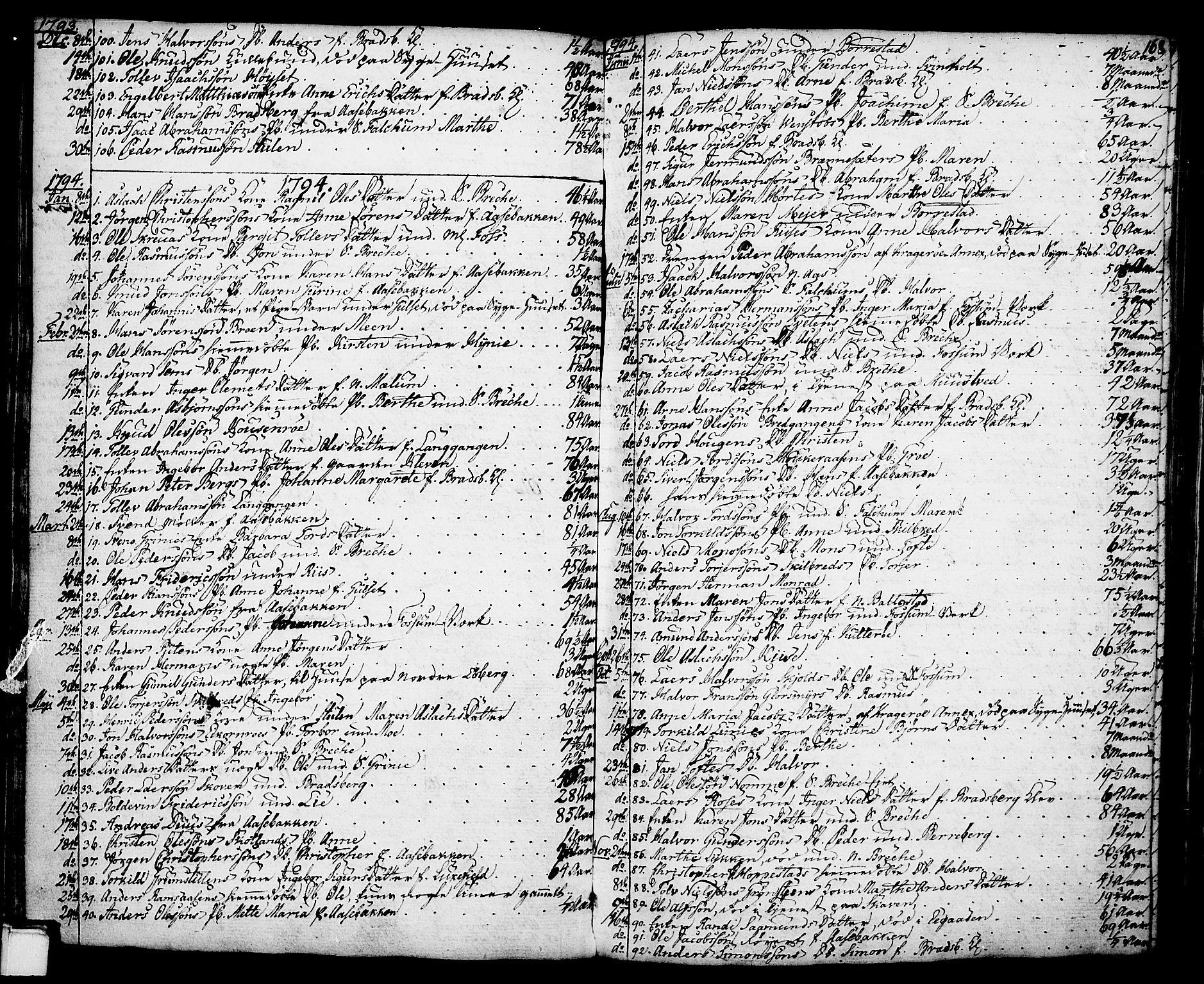 SAKO, Gjerpen kirkebøker, F/Fa/L0002: Ministerialbok nr. 2, 1747-1795, s. 168