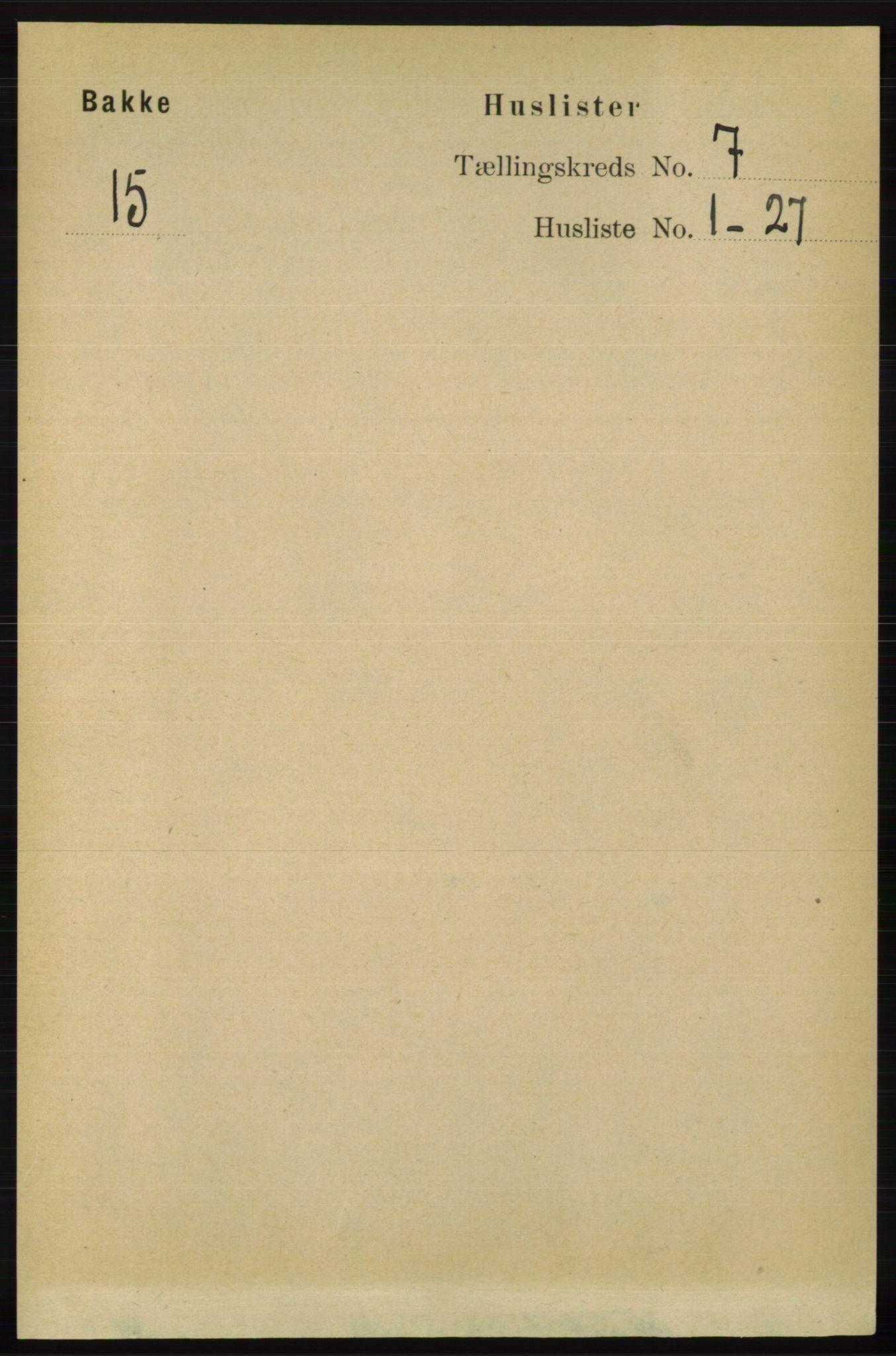 RA, Folketelling 1891 for 1045 Bakke herred, 1891, s. 1275