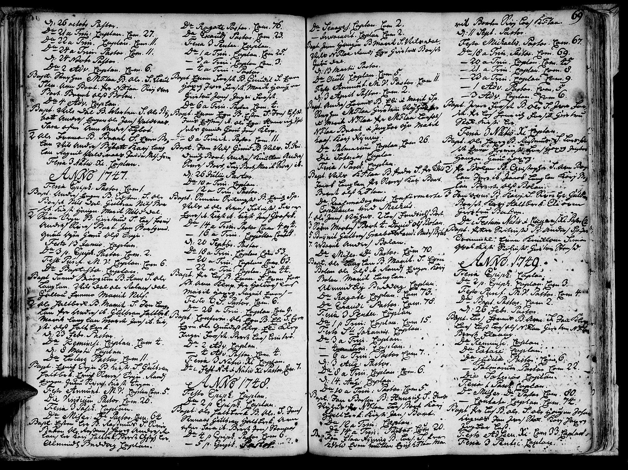 SAT, Ministerialprotokoller, klokkerbøker og fødselsregistre - Sør-Trøndelag, 691/L1058: Ministerialbok nr. 691A01 /2, 1740-1767, s. 69