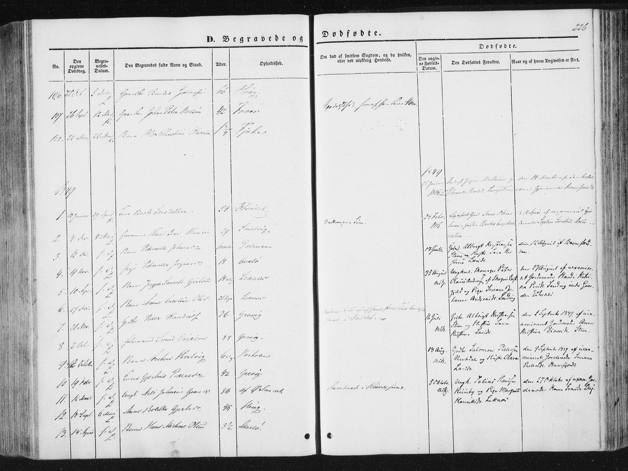 SAT, Ministerialprotokoller, klokkerbøker og fødselsregistre - Nord-Trøndelag, 780/L0640: Ministerialbok nr. 780A05, 1845-1856, s. 226