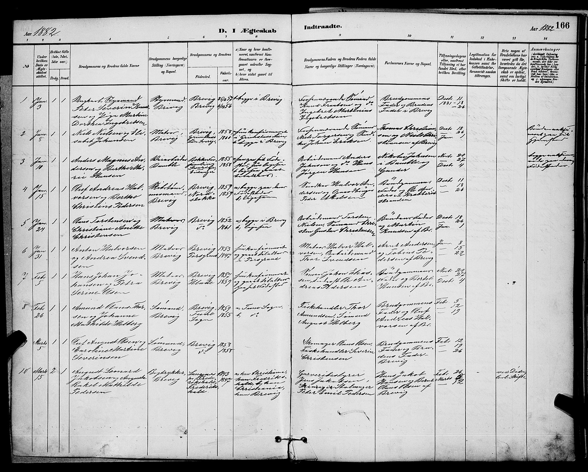 SAKO, Brevik kirkebøker, G/Ga/L0004: Klokkerbok nr. 4, 1882-1900, s. 166