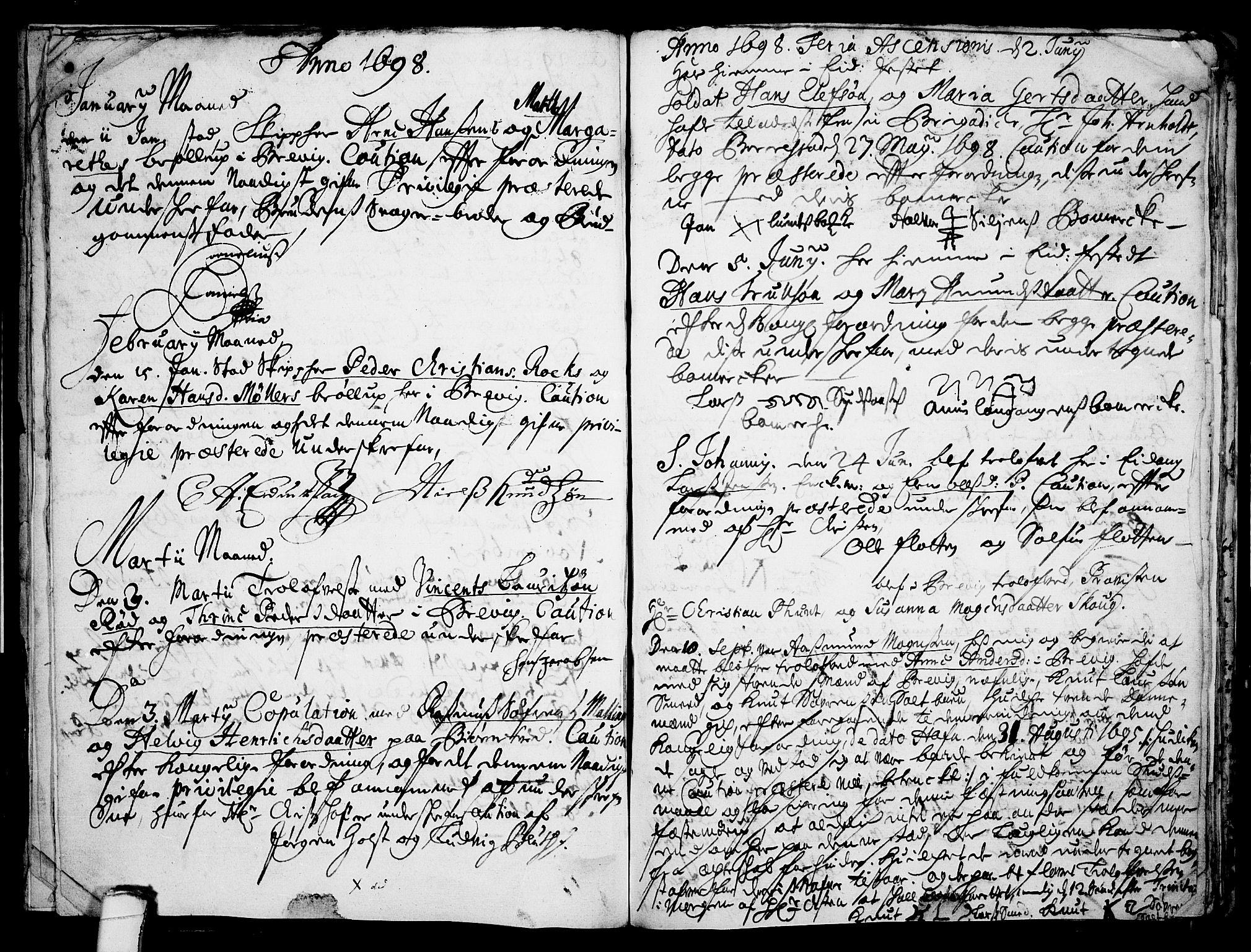 SAKO, Eidanger kirkebøker, F/Fa/L0001: Ministerialbok nr. 1, 1695-1717, s. 13