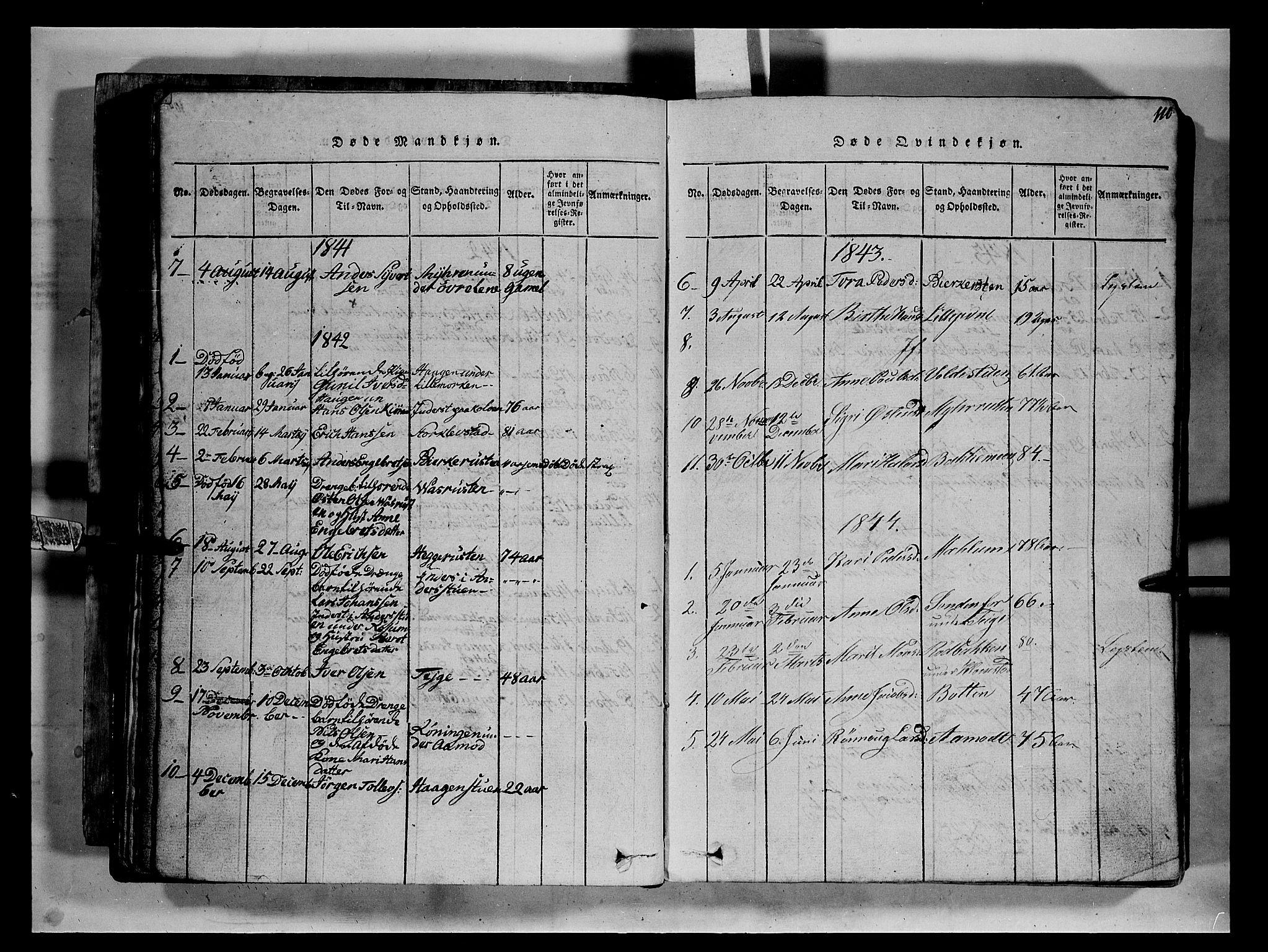 SAH, Fron prestekontor, H/Ha/Hab/L0002: Klokkerbok nr. 2, 1816-1850, s. 110