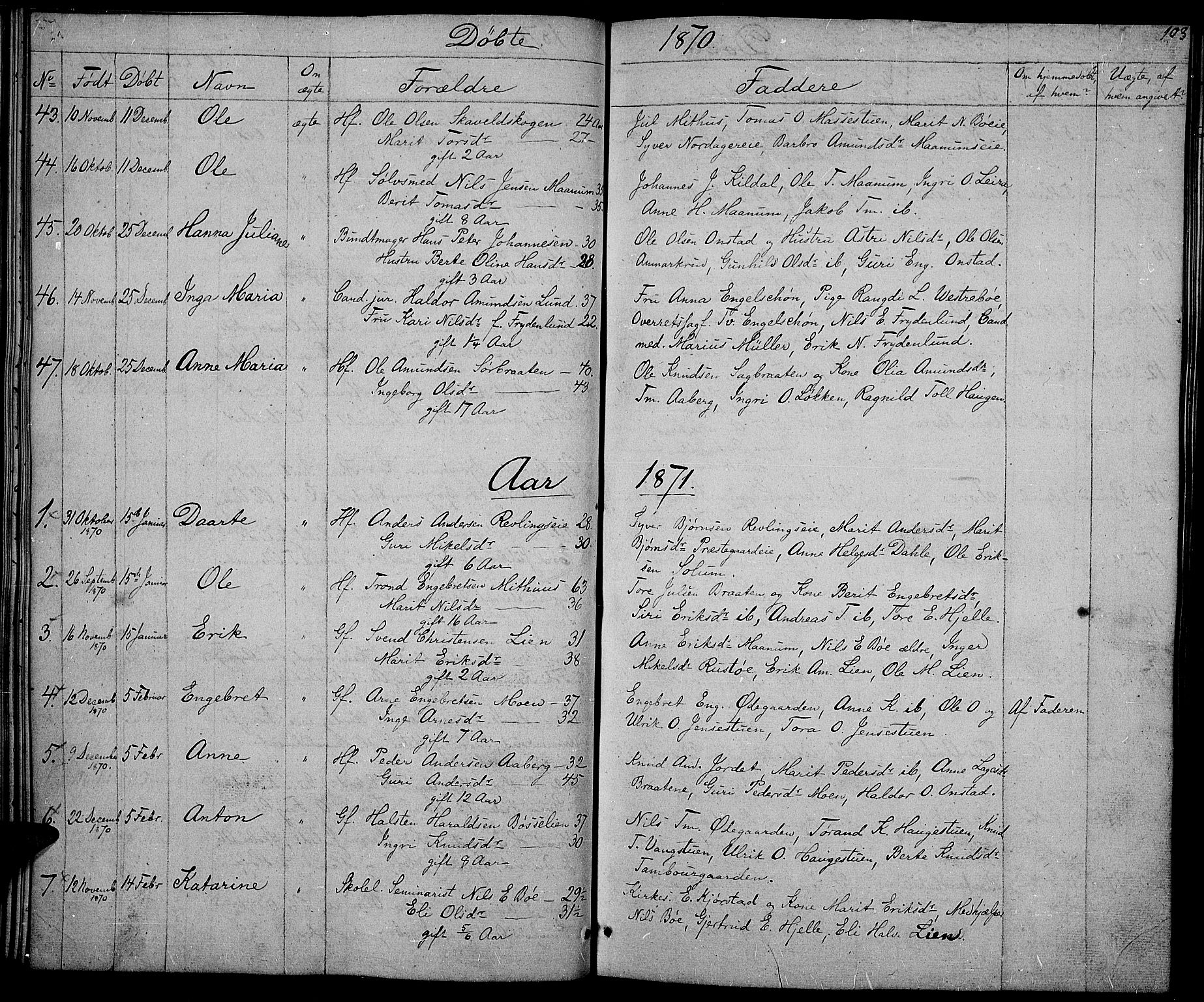 SAH, Nord-Aurdal prestekontor, Klokkerbok nr. 2, 1842-1877, s. 103