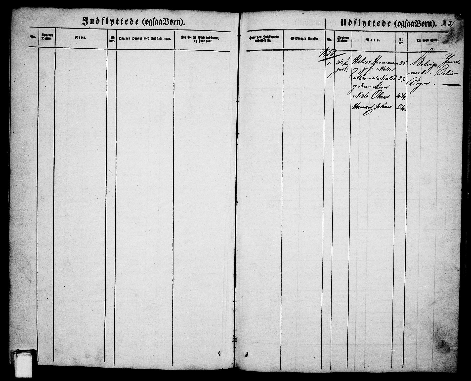 SAKO, Porsgrunn kirkebøker , G/Ga/L0002: Klokkerbok nr. I 2, 1847-1877, s. 231