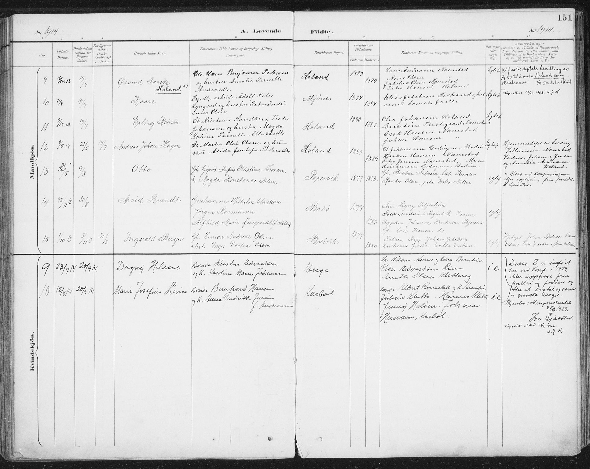 SAT, Ministerialprotokoller, klokkerbøker og fødselsregistre - Nordland, 852/L0741: Ministerialbok nr. 852A11, 1894-1917, s. 151