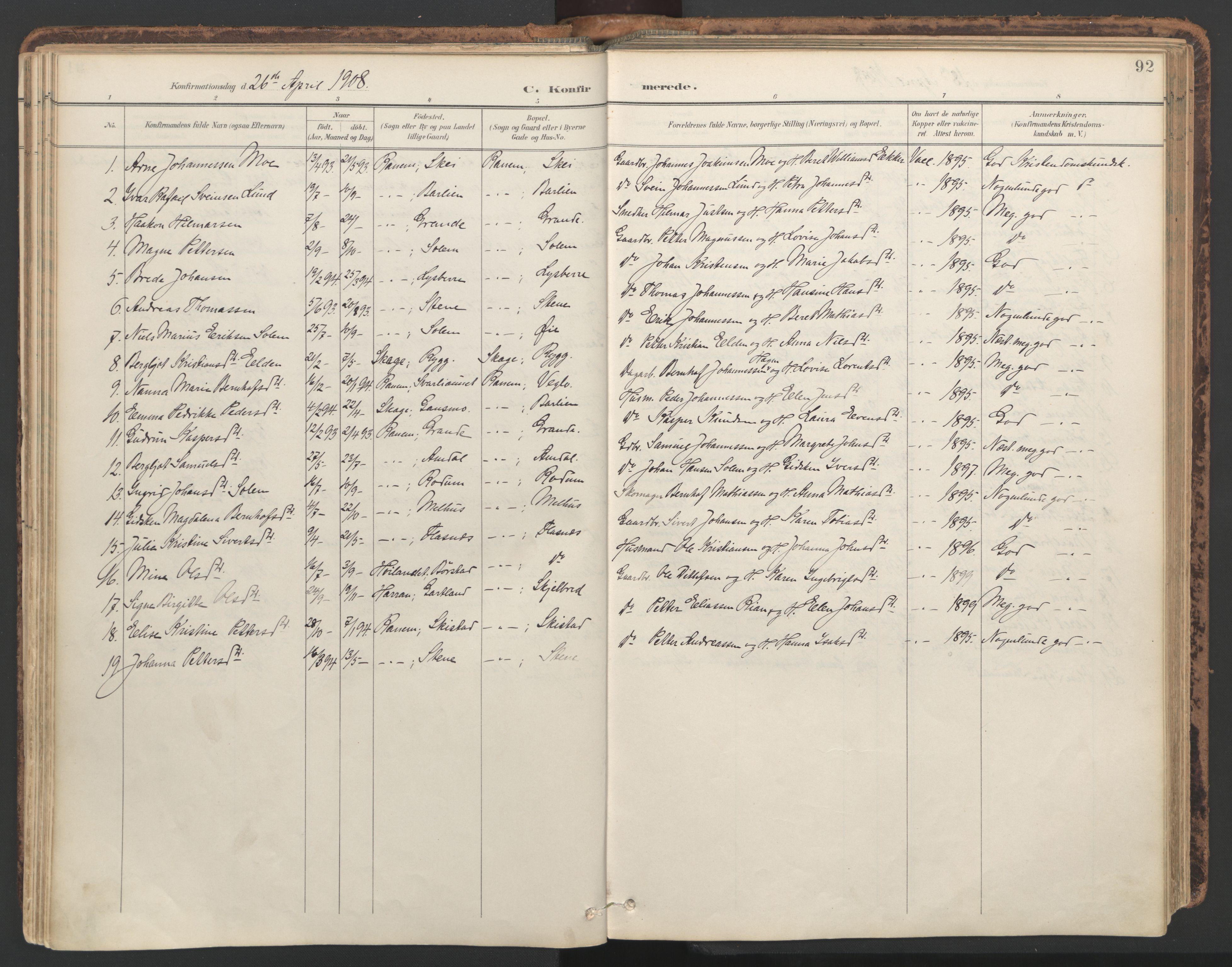 SAT, Ministerialprotokoller, klokkerbøker og fødselsregistre - Nord-Trøndelag, 764/L0556: Ministerialbok nr. 764A11, 1897-1924, s. 92