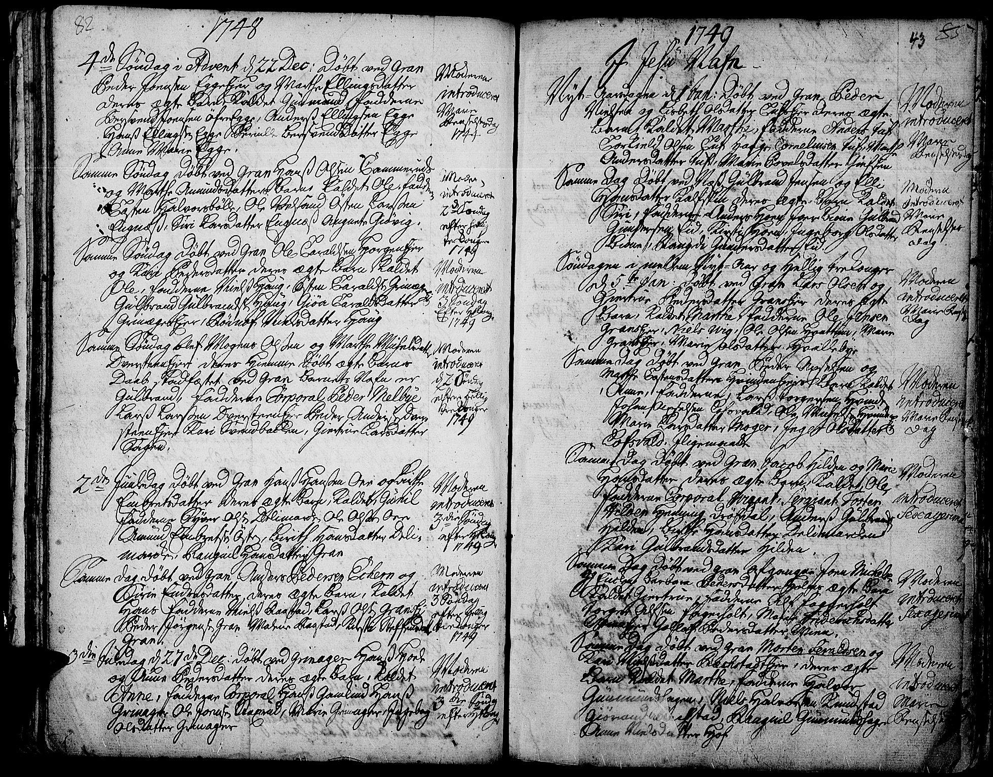 SAH, Gran prestekontor, Ministerialbok nr. 3, 1745-1758, s. 43