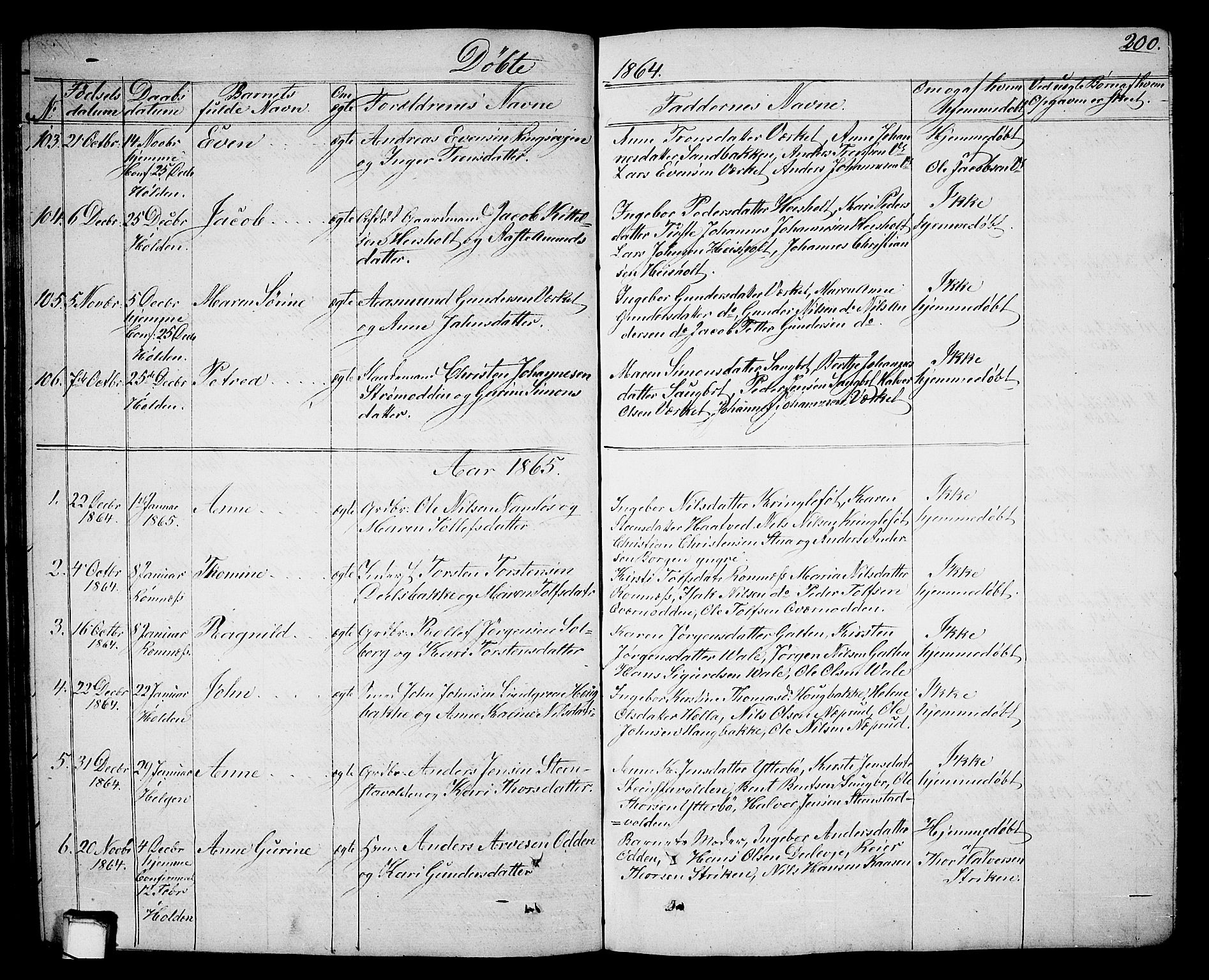 SAKO, Holla kirkebøker, G/Ga/L0003: Klokkerbok nr. I 3, 1849-1866, s. 200