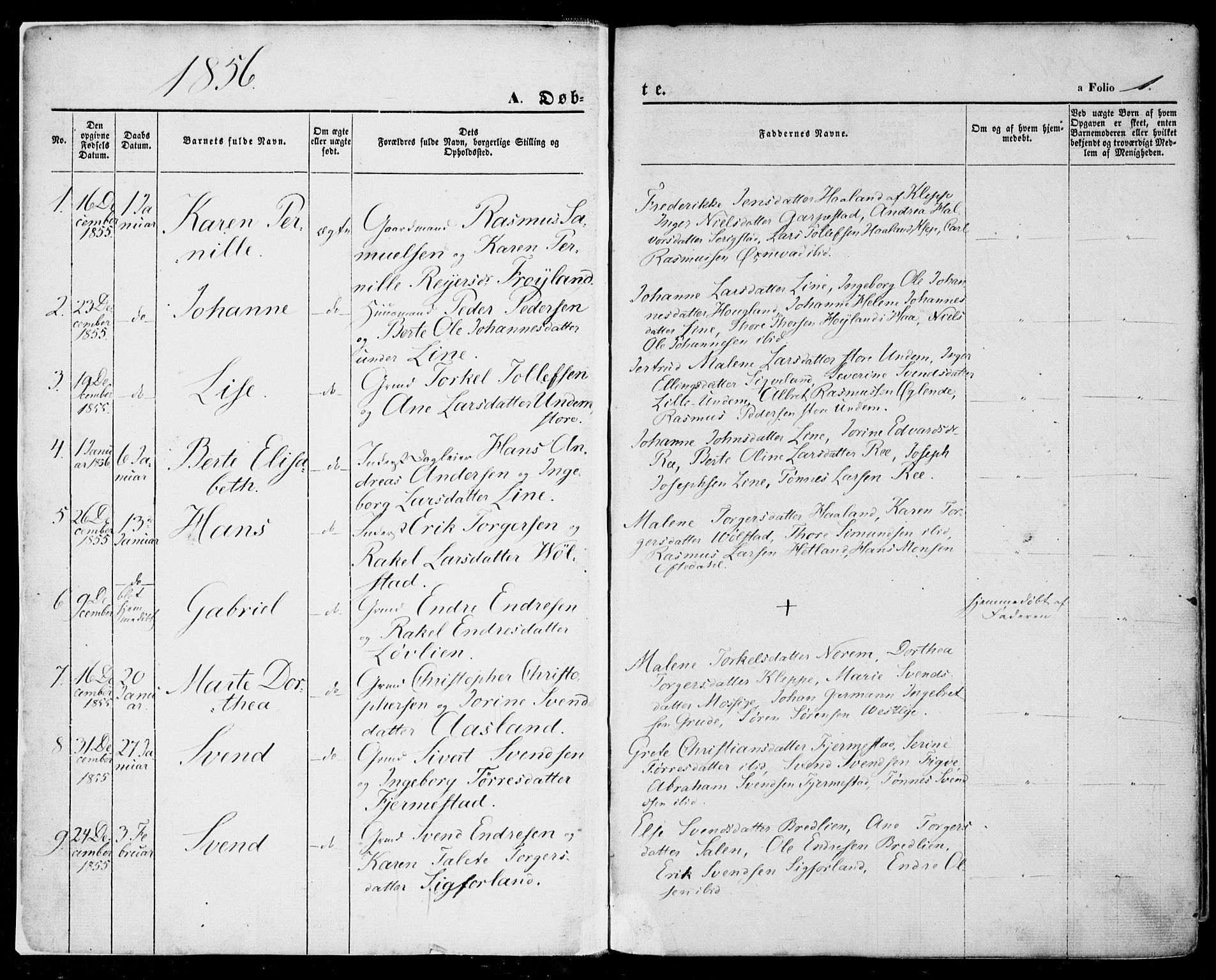 SAST, Lye sokneprestkontor, 30BA/L0007: Ministerialbok nr. A 6, 1856-1871, s. 1