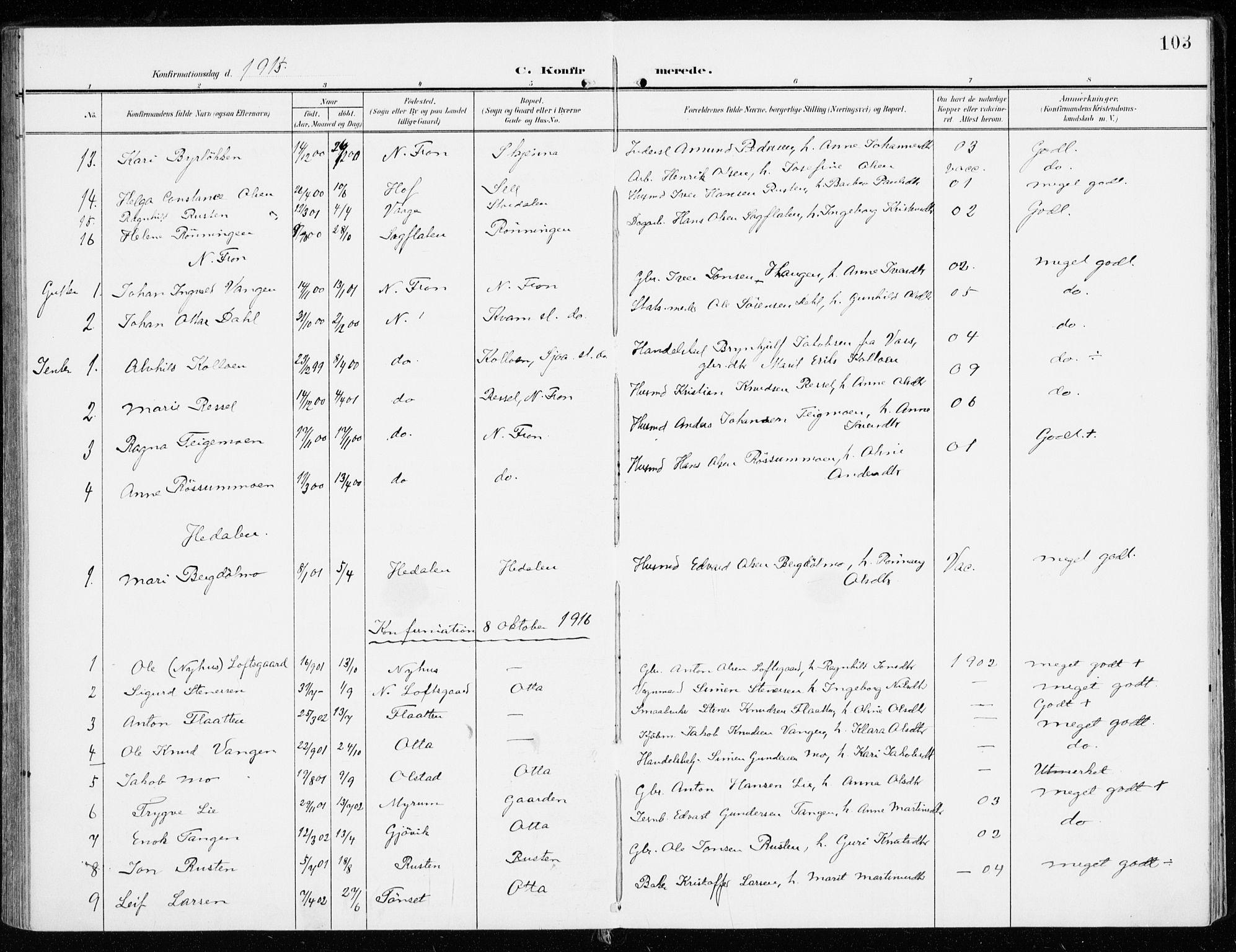 SAH, Sel prestekontor, Ministerialbok nr. 2, 1905-1919, s. 103