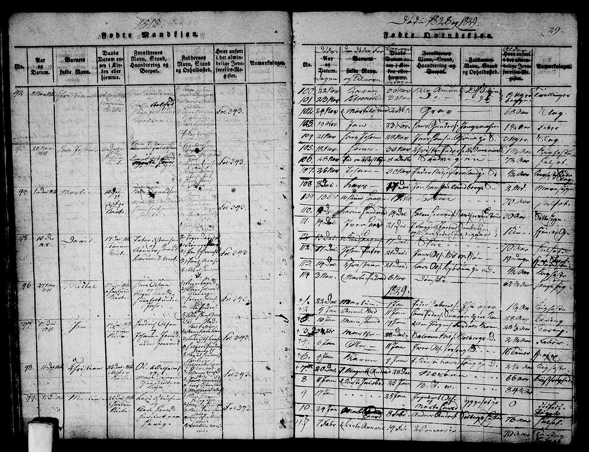 SAO, Asker prestekontor Kirkebøker, G/Ga/L0001: Klokkerbok nr. I 1, 1814-1830, s. 29