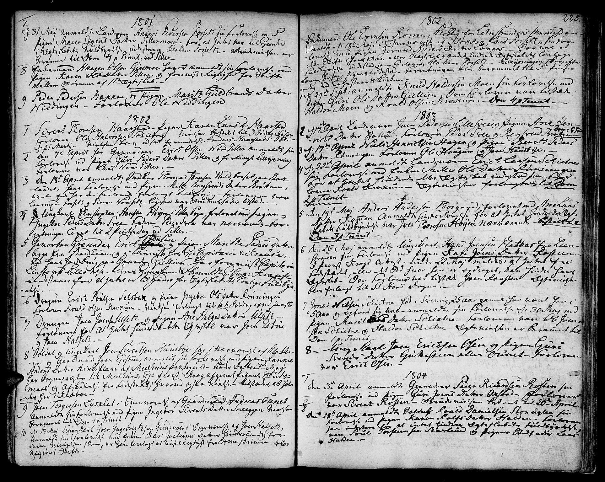 SAT, Ministerialprotokoller, klokkerbøker og fødselsregistre - Sør-Trøndelag, 618/L0438: Ministerialbok nr. 618A03, 1783-1815, s. 225