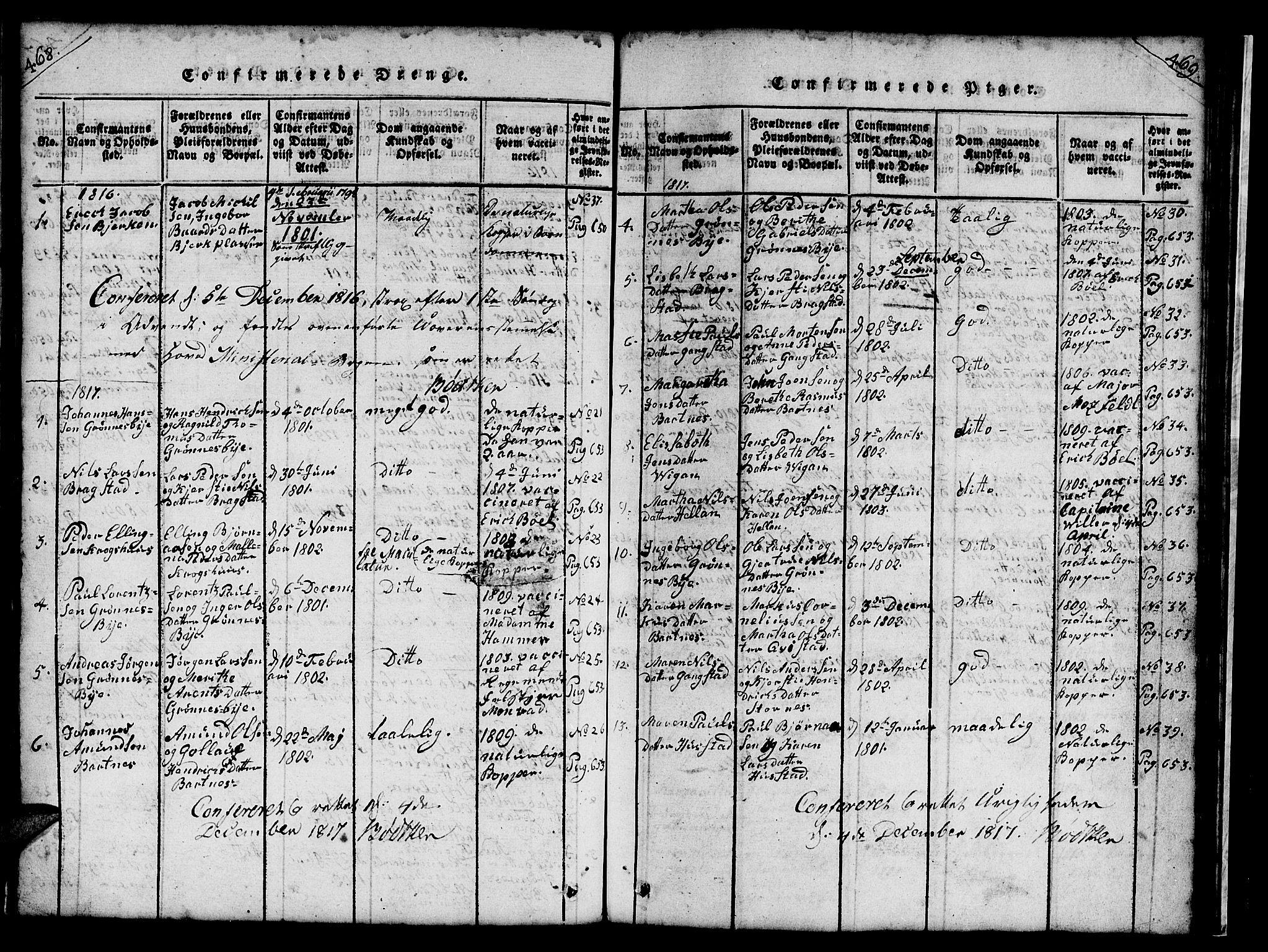 SAT, Ministerialprotokoller, klokkerbøker og fødselsregistre - Nord-Trøndelag, 732/L0317: Klokkerbok nr. 732C01, 1816-1881, s. 468-469