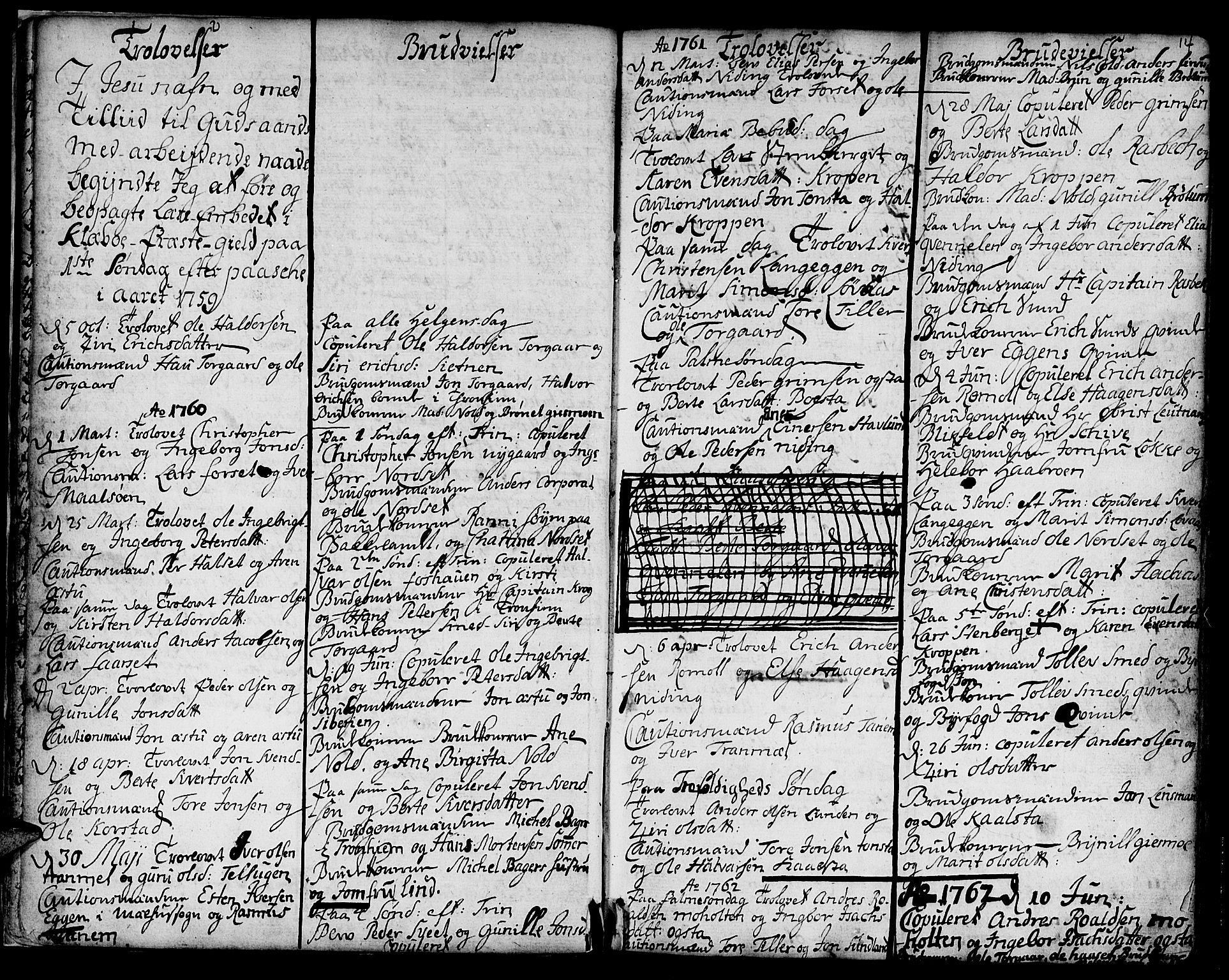 SAT, Ministerialprotokoller, klokkerbøker og fødselsregistre - Sør-Trøndelag, 618/L0437: Ministerialbok nr. 618A02, 1749-1782, s. 14
