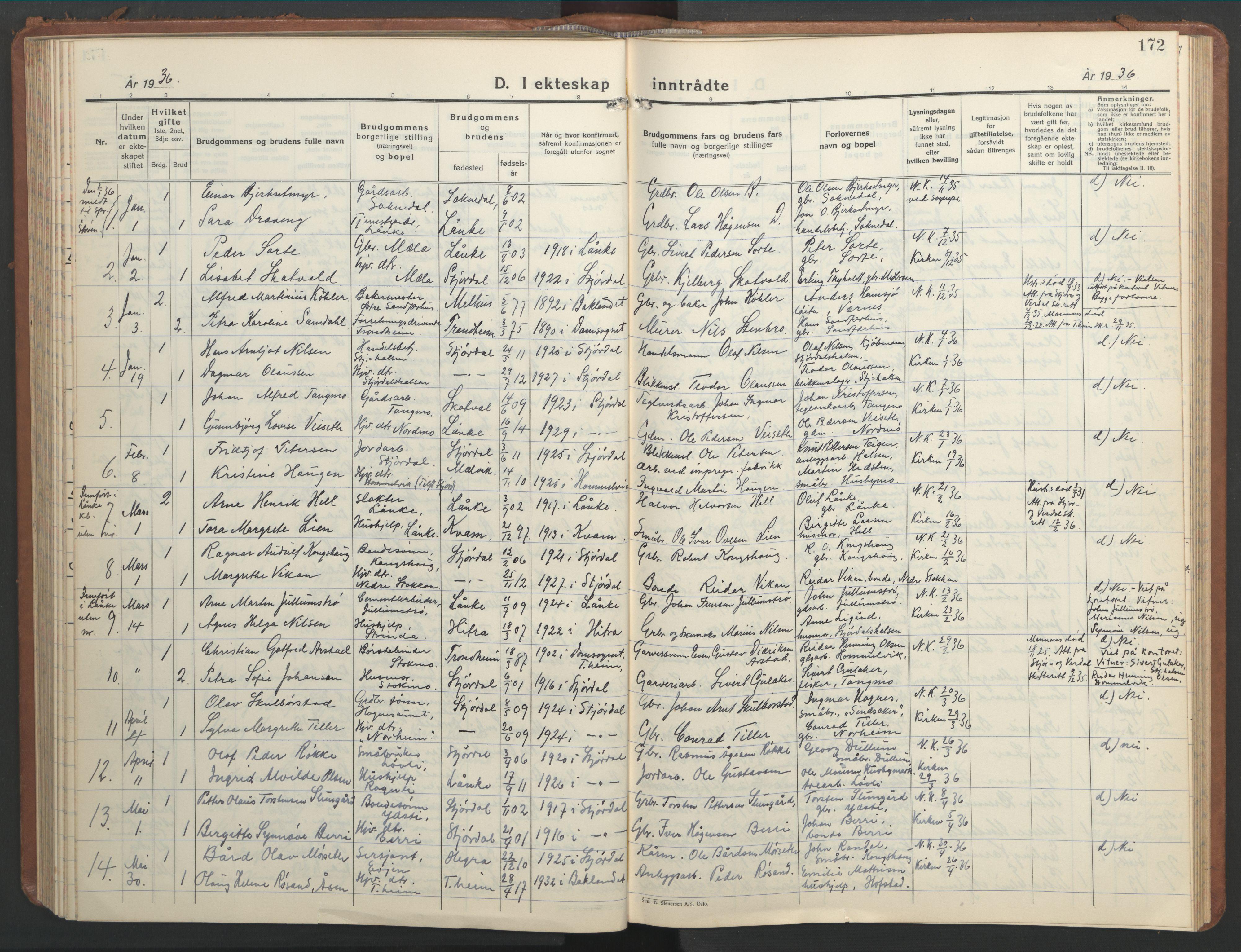 SAT, Ministerialprotokoller, klokkerbøker og fødselsregistre - Nord-Trøndelag, 709/L0089: Klokkerbok nr. 709C03, 1935-1948, s. 172