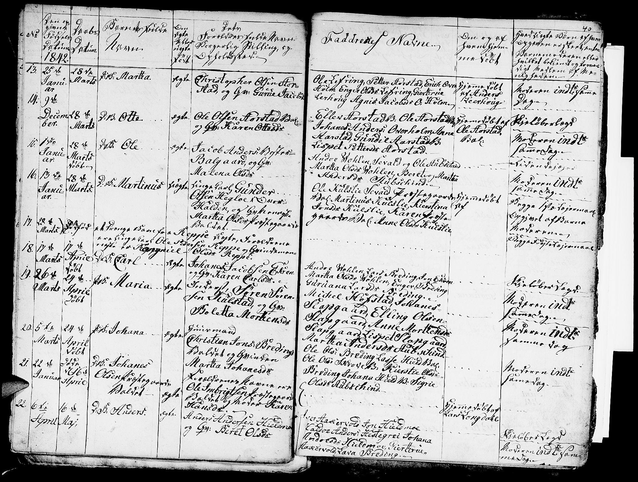 SAT, Ministerialprotokoller, klokkerbøker og fødselsregistre - Nord-Trøndelag, 724/L0266: Klokkerbok nr. 724C02, 1836-1843, s. 40