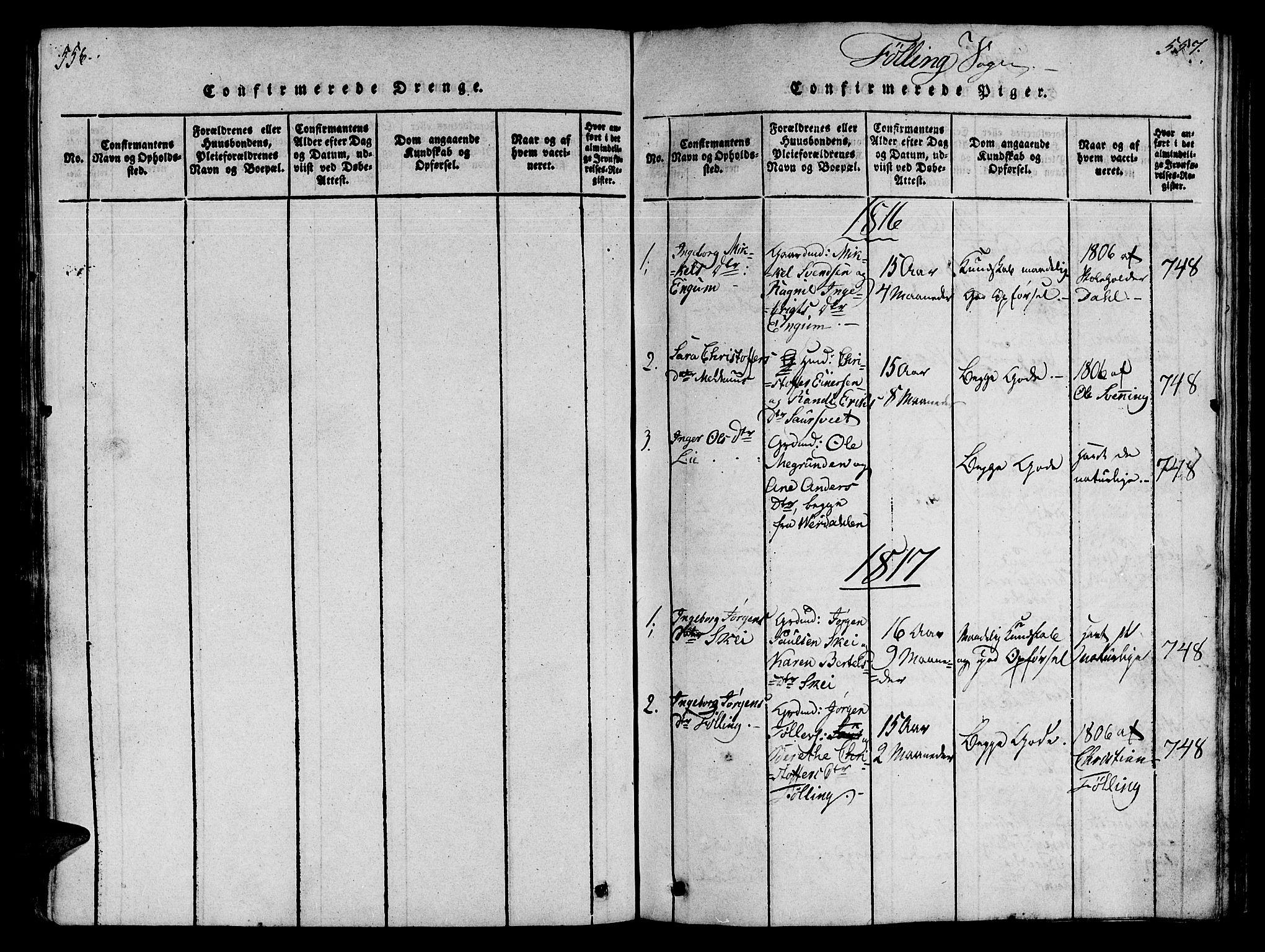SAT, Ministerialprotokoller, klokkerbøker og fødselsregistre - Nord-Trøndelag, 746/L0441: Ministerialbok nr. 746A03 /4, 1816-1827, s. 556-557