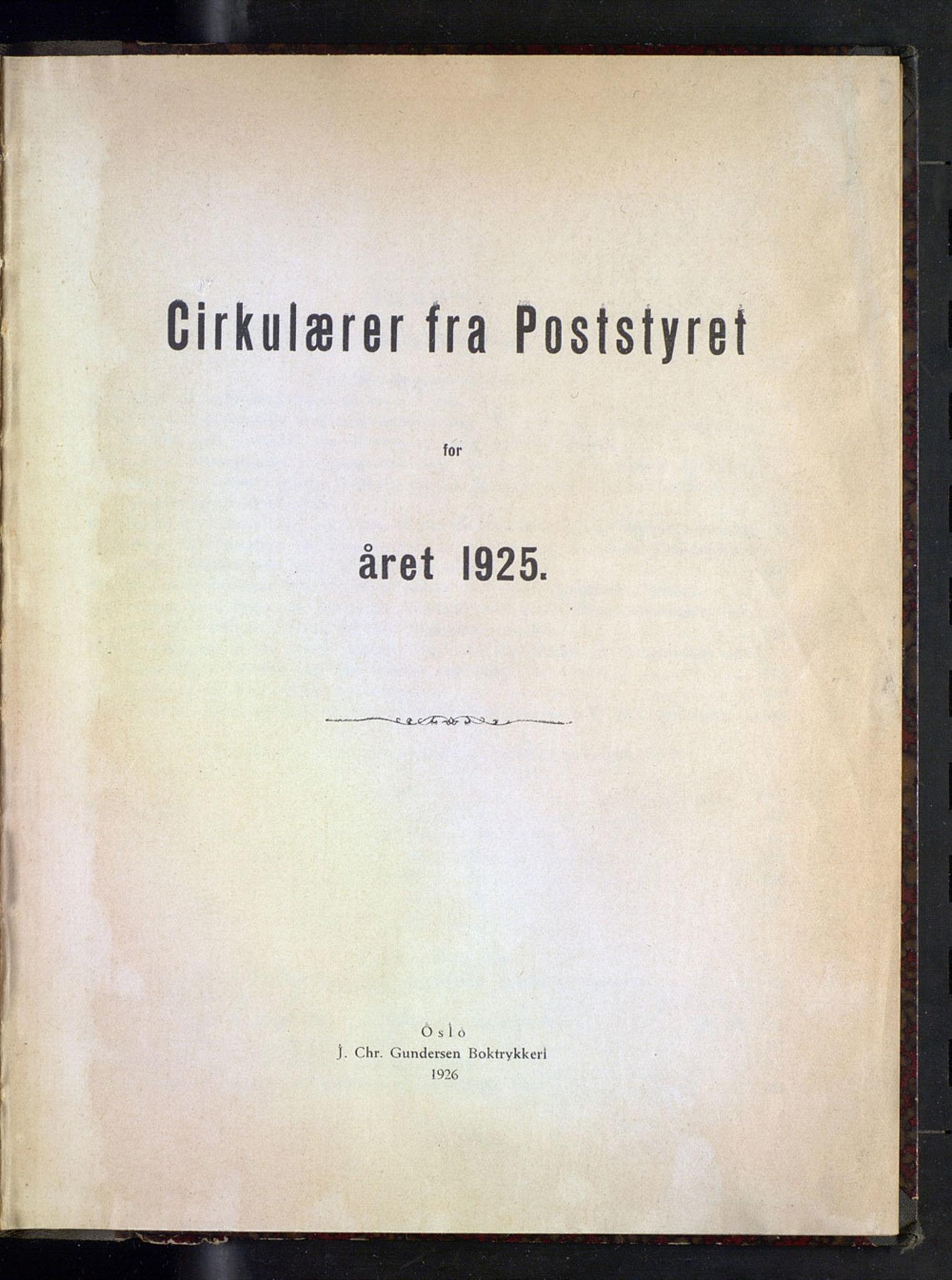 NOPO, Norges Postmuseums bibliotek, -/-: Sirkulærer fra Poststyret, 1925