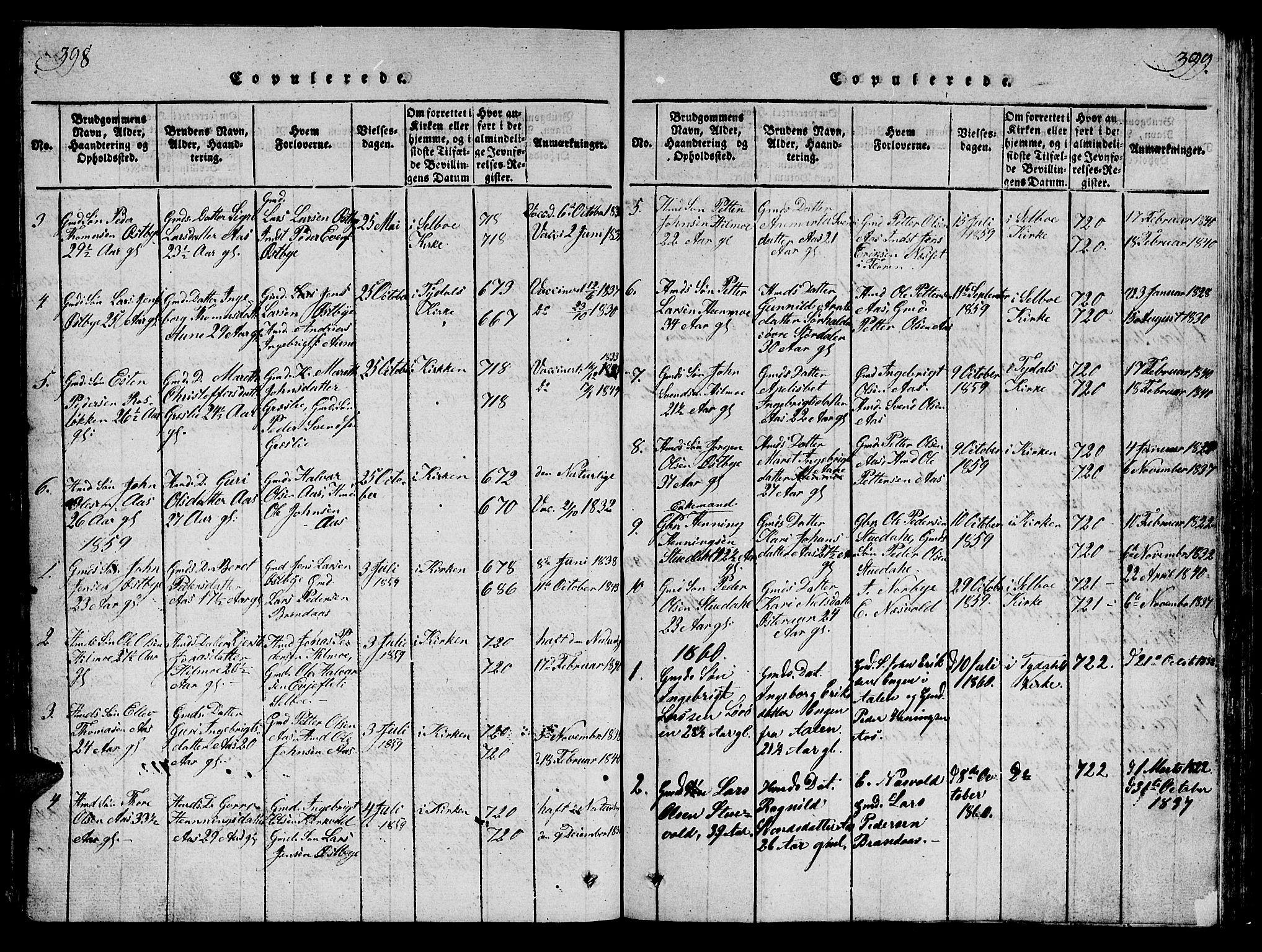 SAT, Ministerialprotokoller, klokkerbøker og fødselsregistre - Sør-Trøndelag, 698/L1164: Klokkerbok nr. 698C01, 1816-1861, s. 398-399