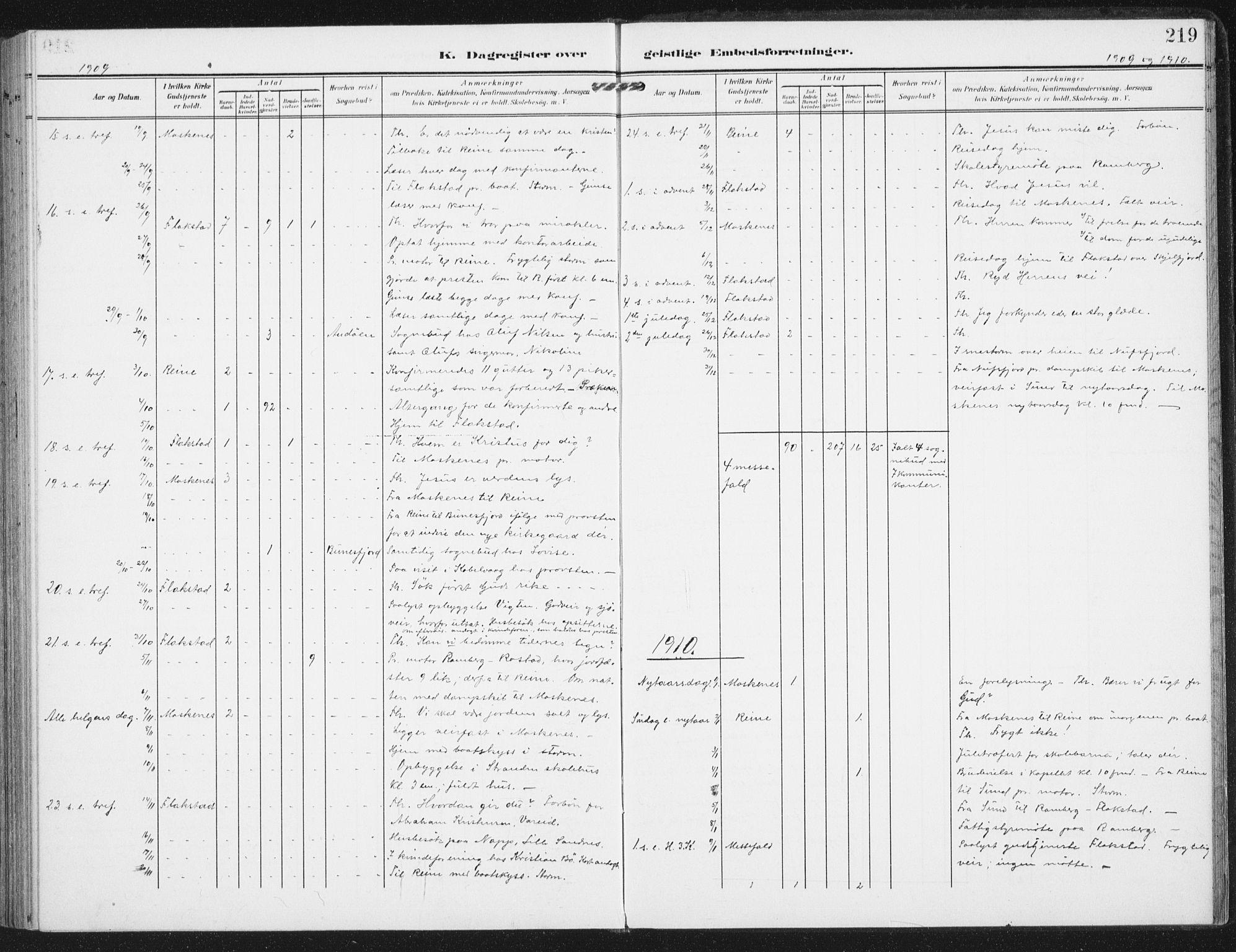 SAT, Ministerialprotokoller, klokkerbøker og fødselsregistre - Nordland, 885/L1206: Ministerialbok nr. 885A07, 1905-1915, s. 219