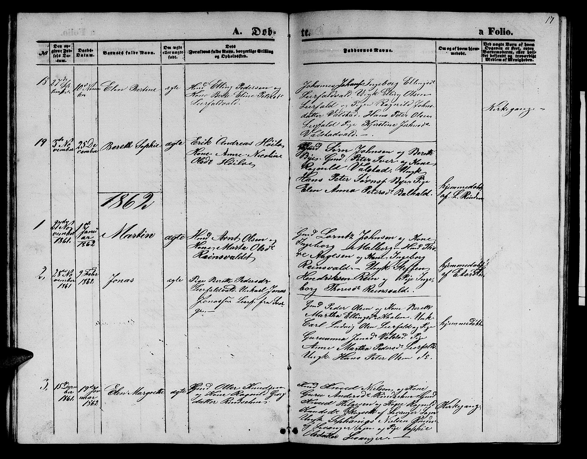 SAT, Ministerialprotokoller, klokkerbøker og fødselsregistre - Nord-Trøndelag, 726/L0270: Klokkerbok nr. 726C01, 1858-1868, s. 17