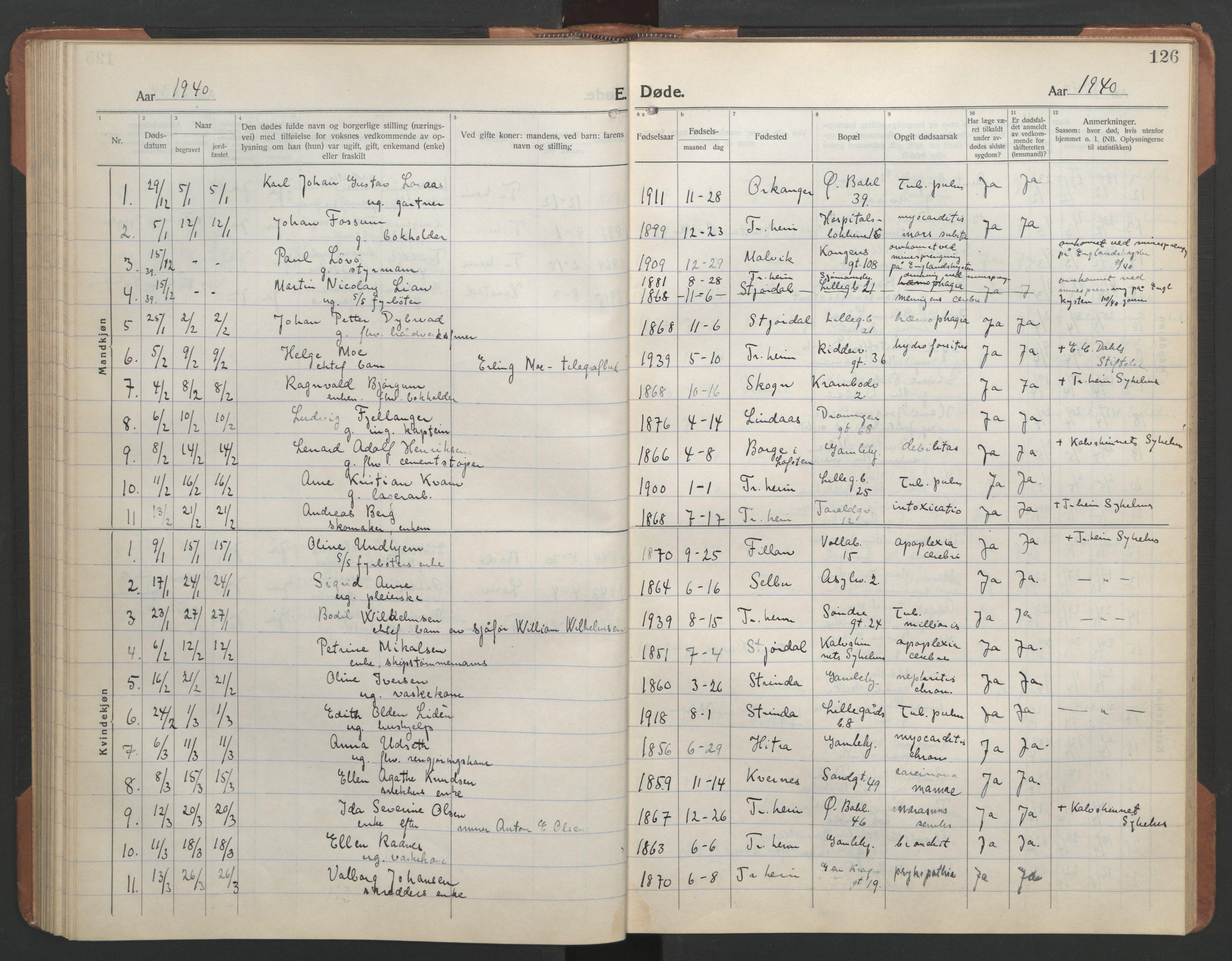 SAT, Ministerialprotokoller, klokkerbøker og fødselsregistre - Sør-Trøndelag, 602/L0150: Klokkerbok nr. 602C18, 1922-1949, s. 126