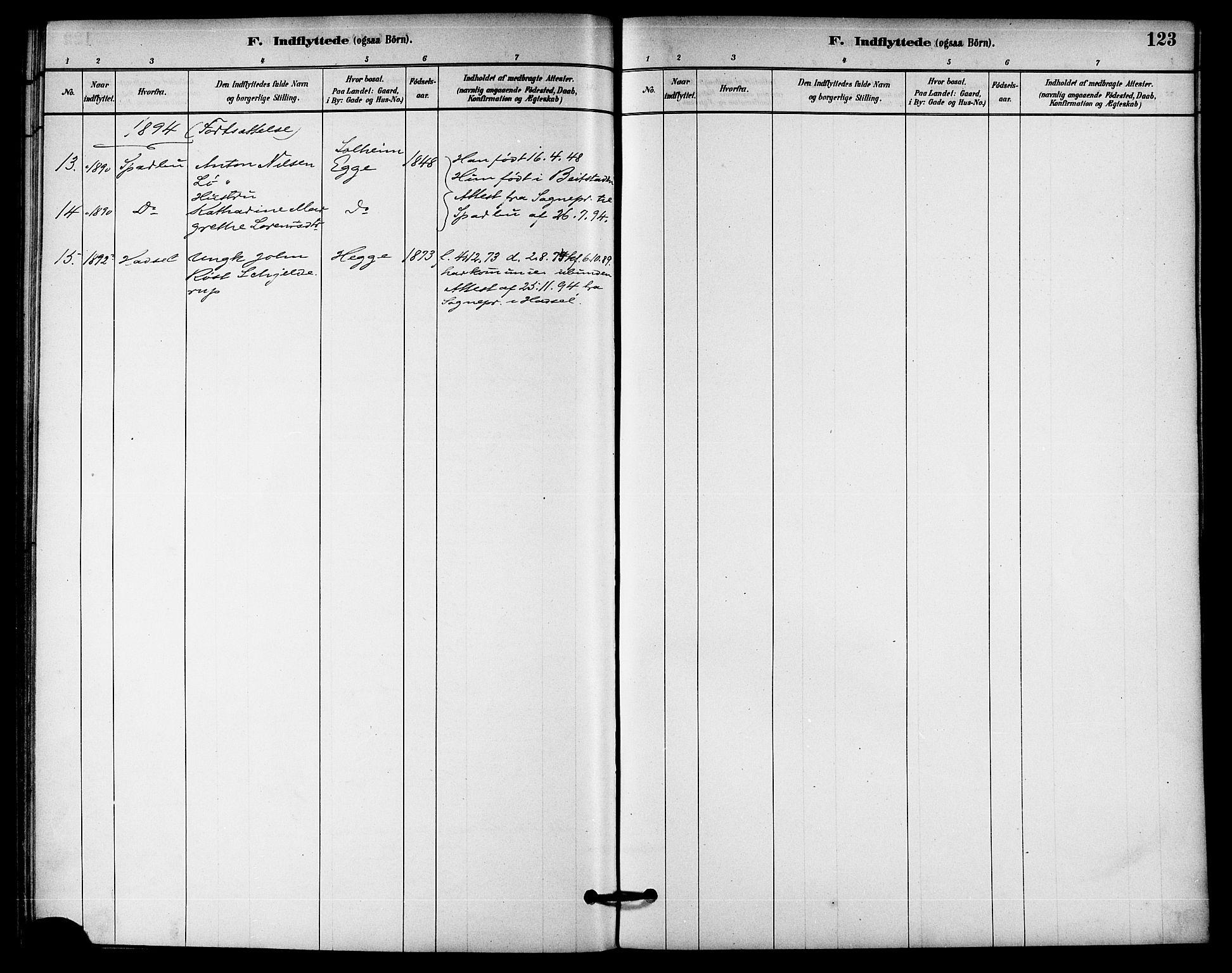 SAT, Ministerialprotokoller, klokkerbøker og fødselsregistre - Nord-Trøndelag, 740/L0378: Ministerialbok nr. 740A01, 1881-1895, s. 123