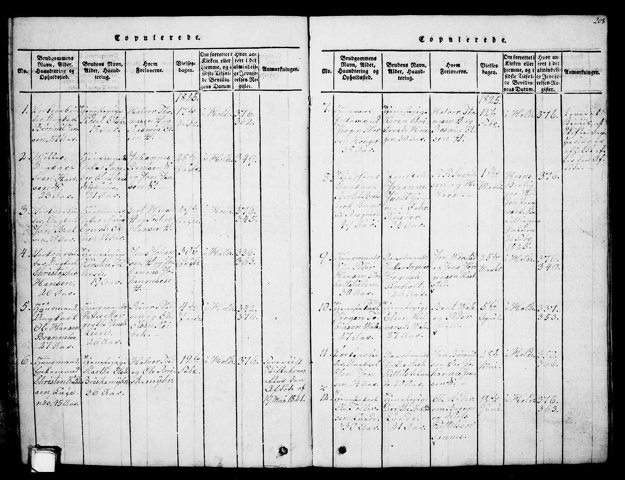 SAKO, Holla kirkebøker, G/Ga/L0001: Klokkerbok nr. I 1, 1814-1830, s. 208