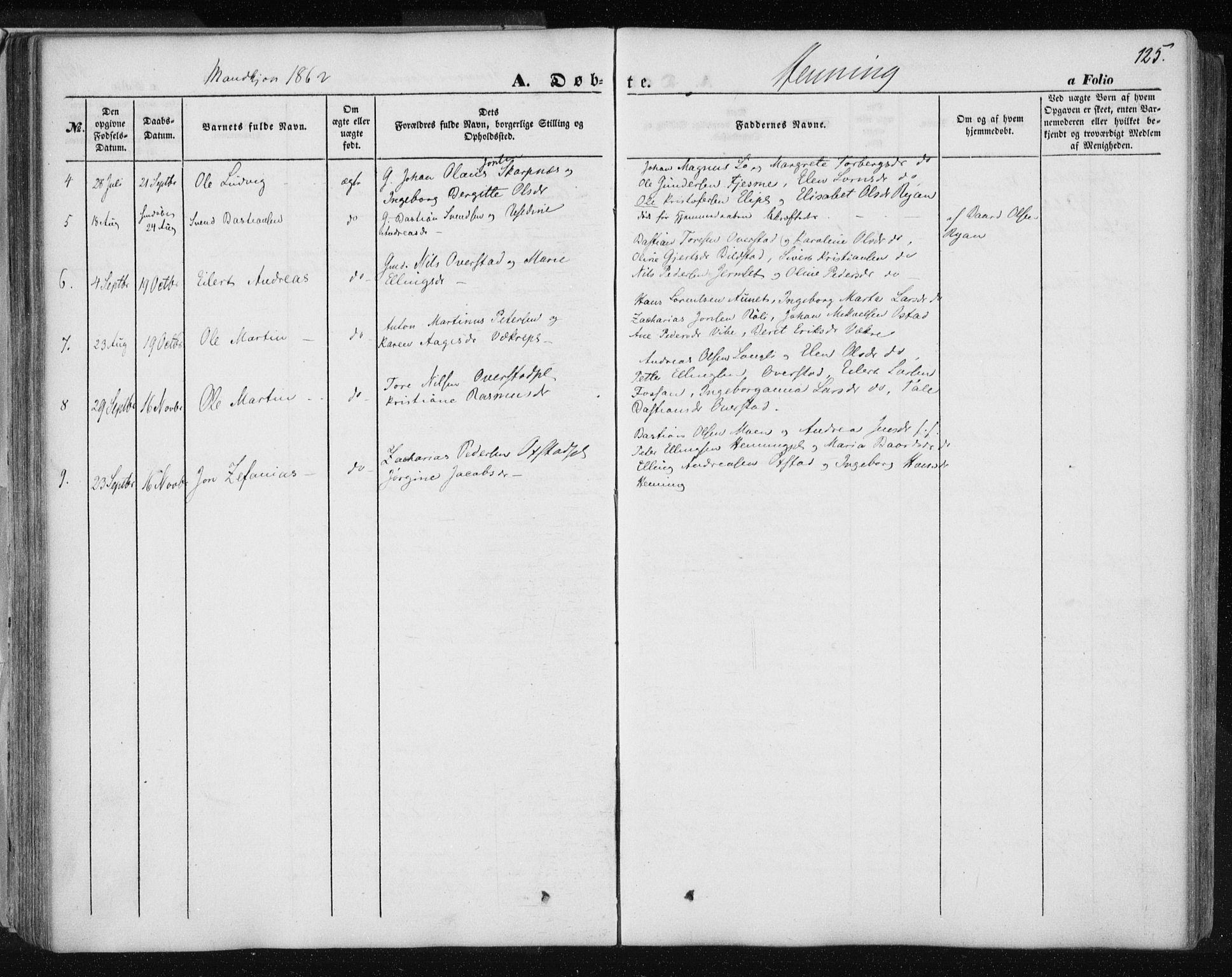 SAT, Ministerialprotokoller, klokkerbøker og fødselsregistre - Nord-Trøndelag, 735/L0342: Ministerialbok nr. 735A07 /3, 1849-1862, s. 125