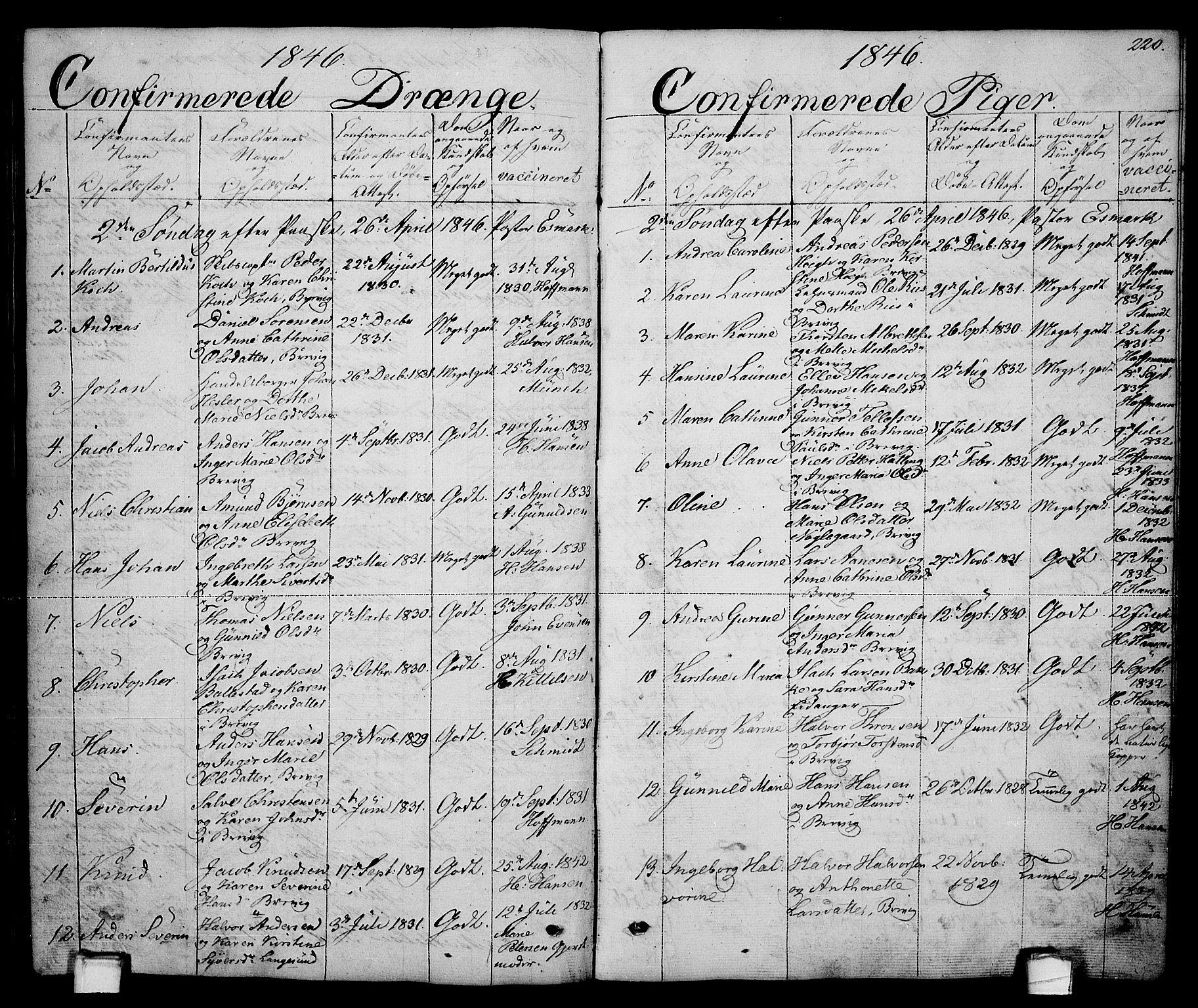 SAKO, Brevik kirkebøker, G/Ga/L0002: Klokkerbok nr. 2, 1846-1865, s. 220