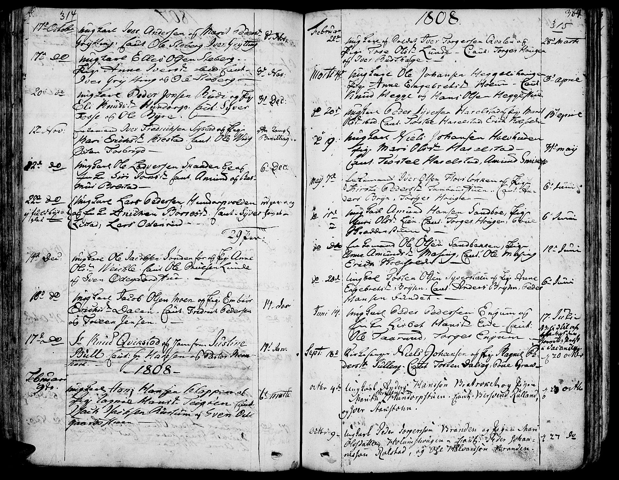 SAH, Fron prestekontor, H/Ha/Haa/L0001: Ministerialbok nr. 1, 1799-1816, s. 314-315
