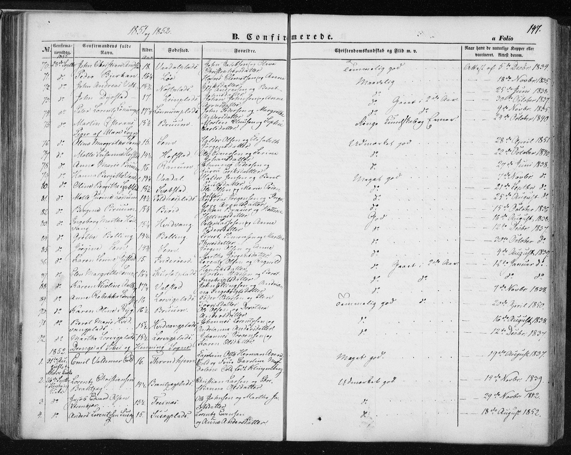 SAT, Ministerialprotokoller, klokkerbøker og fødselsregistre - Nord-Trøndelag, 735/L0342: Ministerialbok nr. 735A07 /1, 1849-1862, s. 147