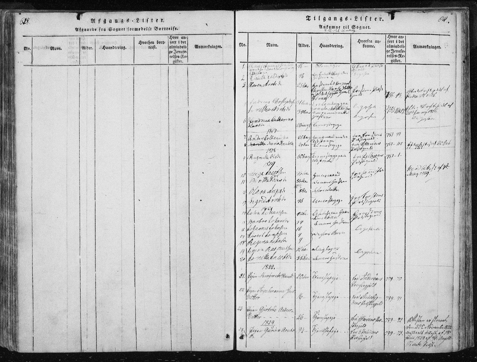 SAT, Ministerialprotokoller, klokkerbøker og fødselsregistre - Nord-Trøndelag, 717/L0148: Ministerialbok nr. 717A04 /3, 1816-1825, s. 618-619